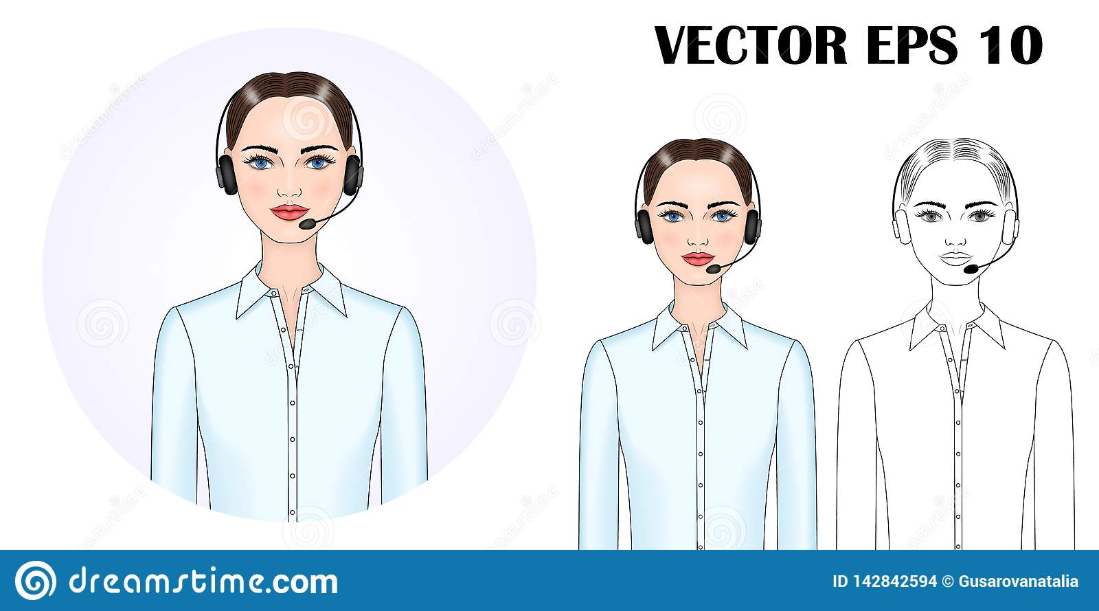 Imagem do vetor de uma mulher nos fones de ouvido