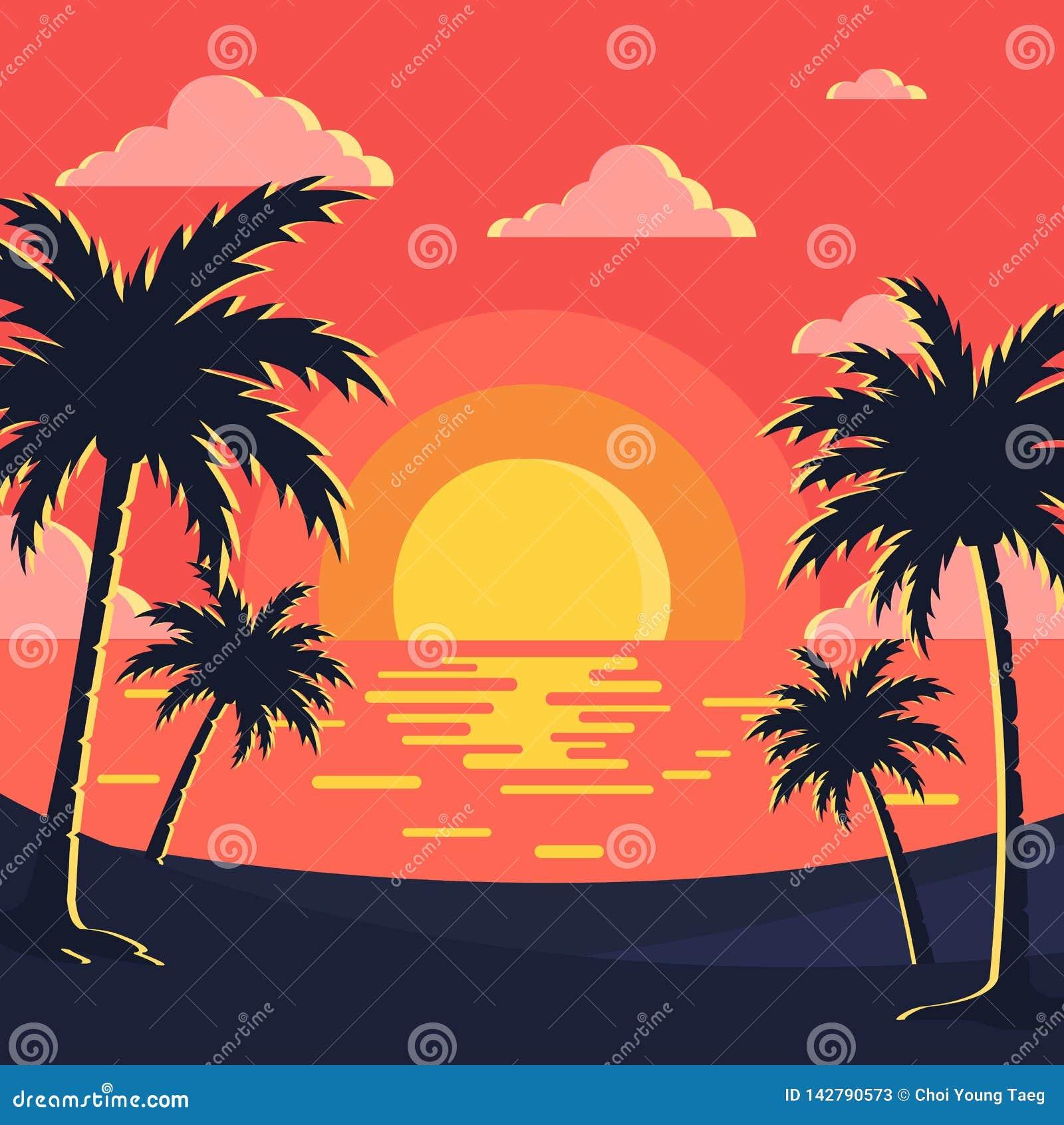 Imagem do vetor do fundo do por do sol/praia