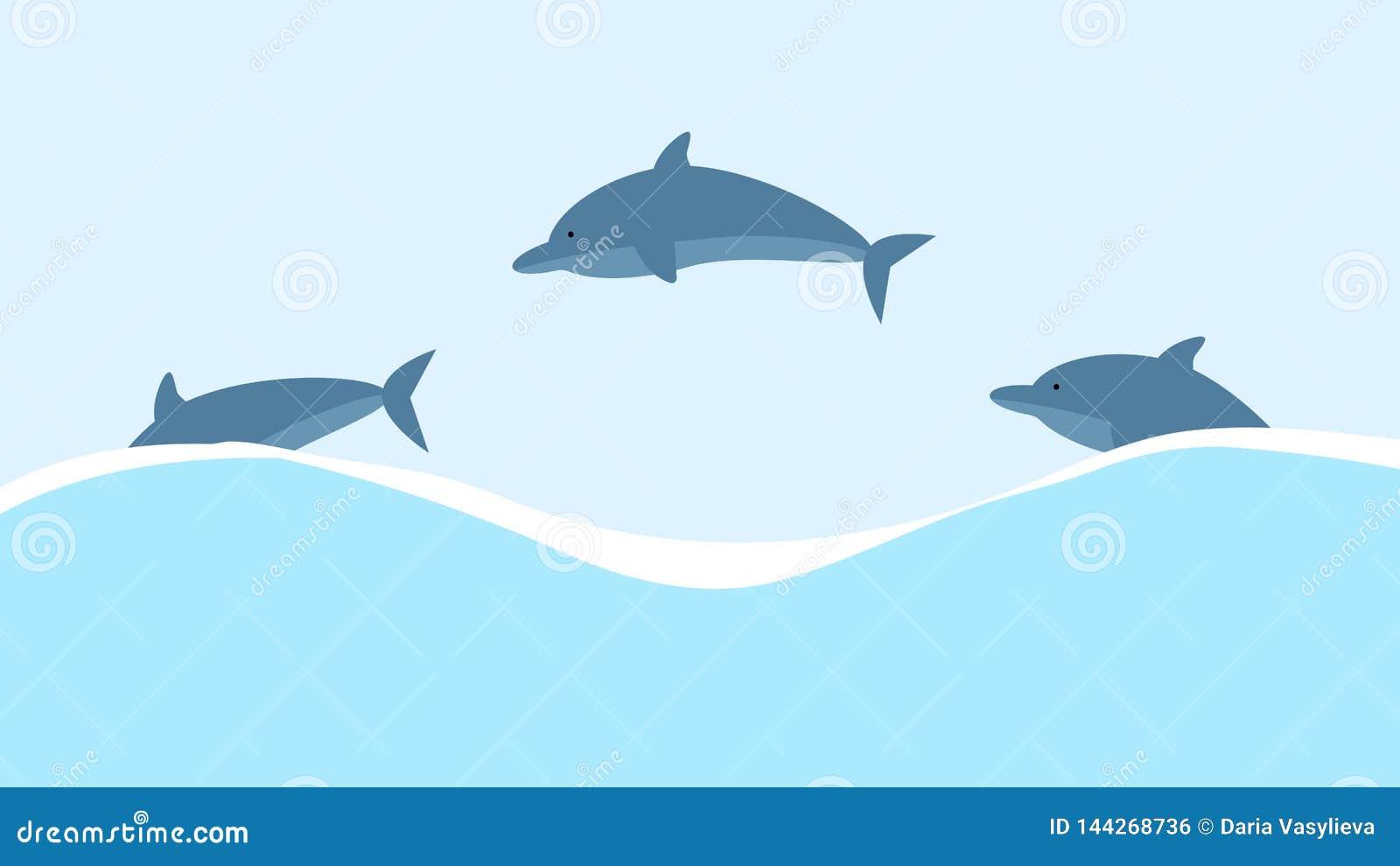 Imagem dos golfinhos, vida marinha do vetor