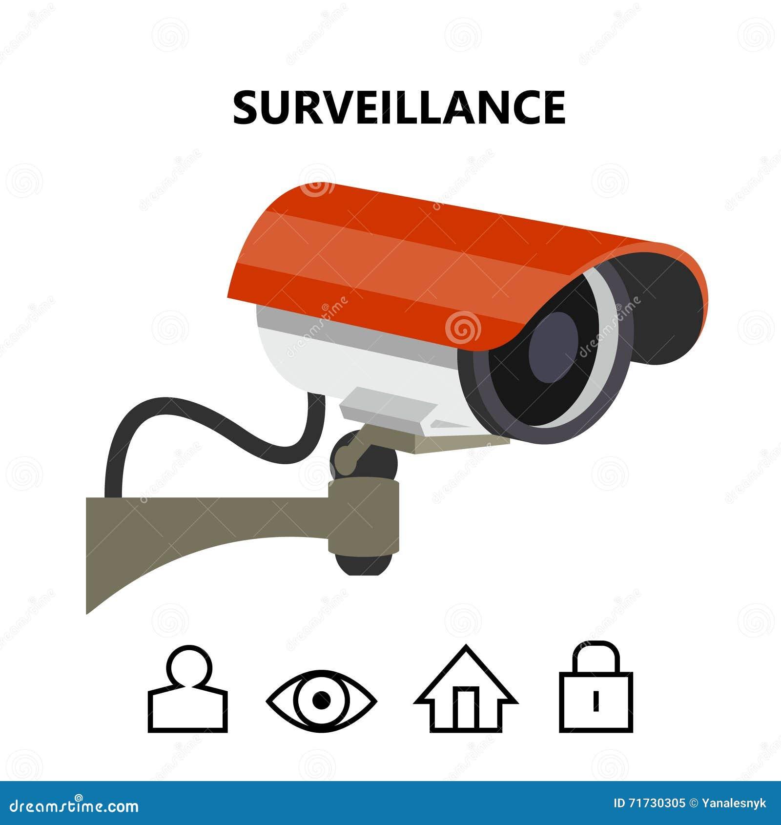 Imagem exterior do vetor da câmara de vigilância da segurança