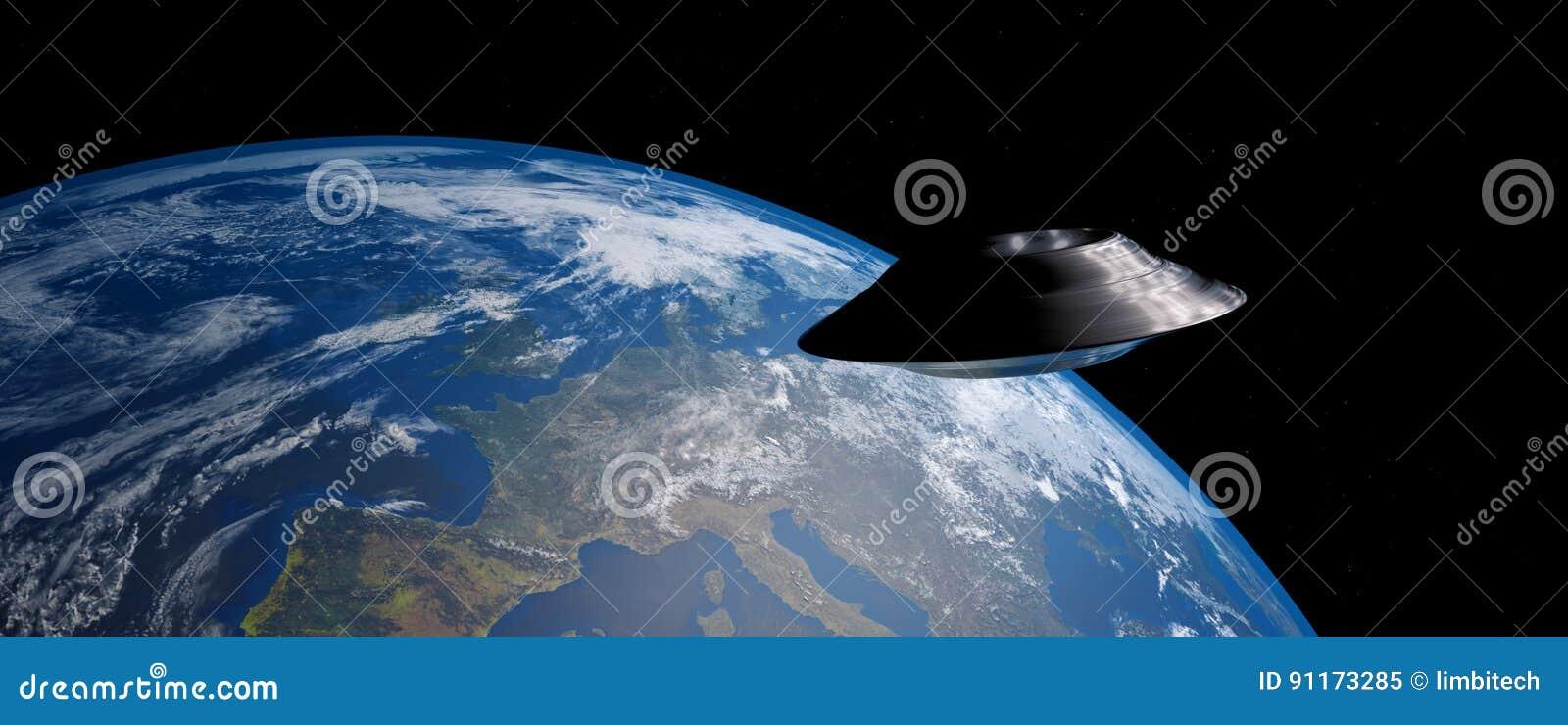A imagem extremamente detalhada e realística da alta resolução 3D de um UFO/de uma terra de órbita pires de voo disparou do espaç