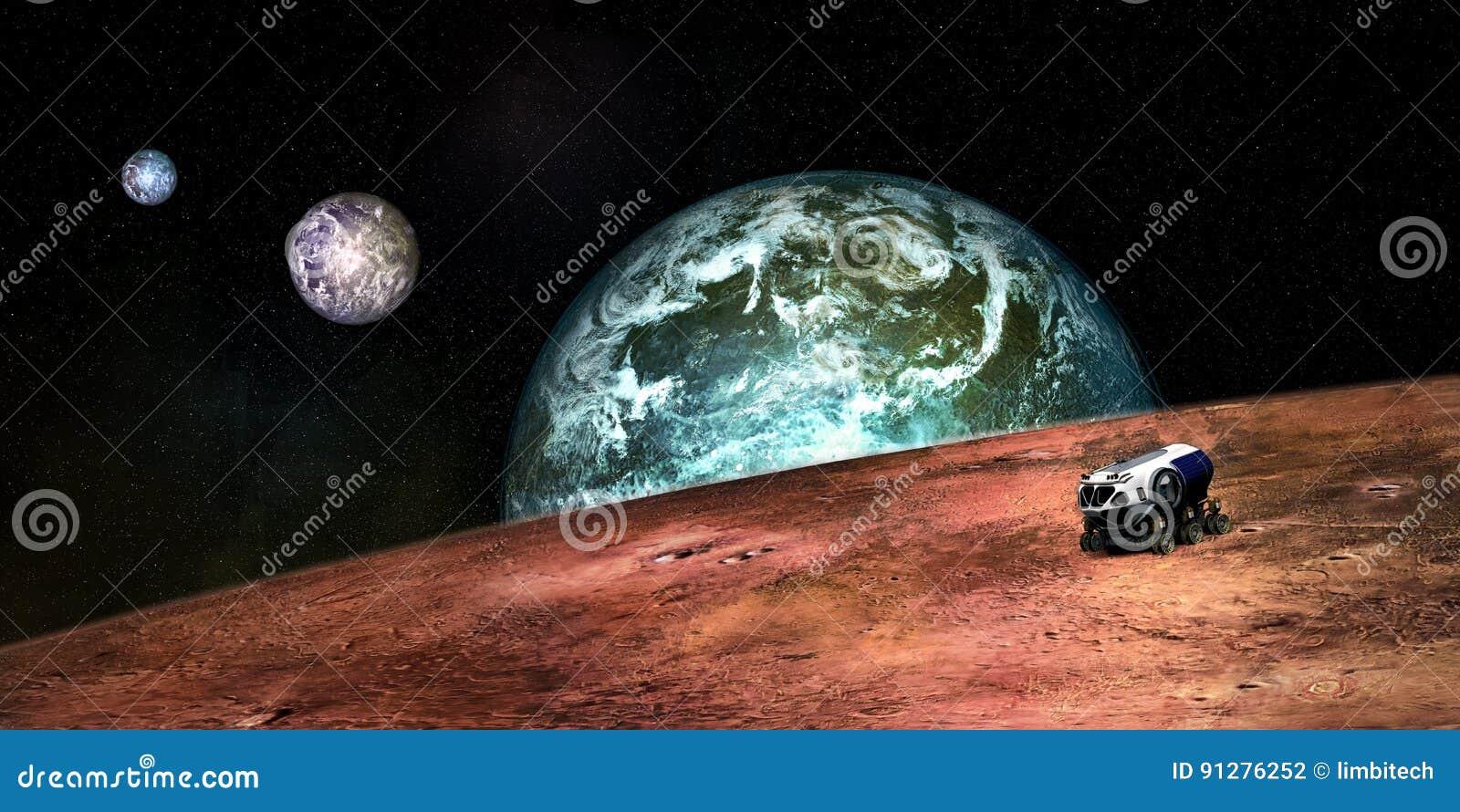Imagem extremamente detalhada e realística da alta resolução 3D do um Exoplanet com um veículo da exploração do espaço Disparado