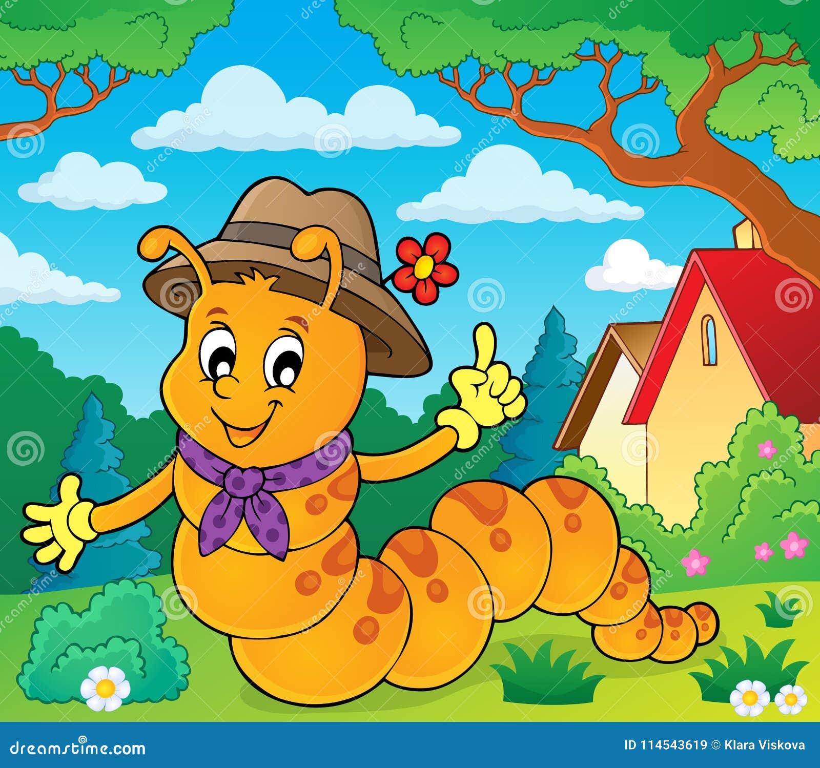 Imagem feliz 2 do tema da lagarta