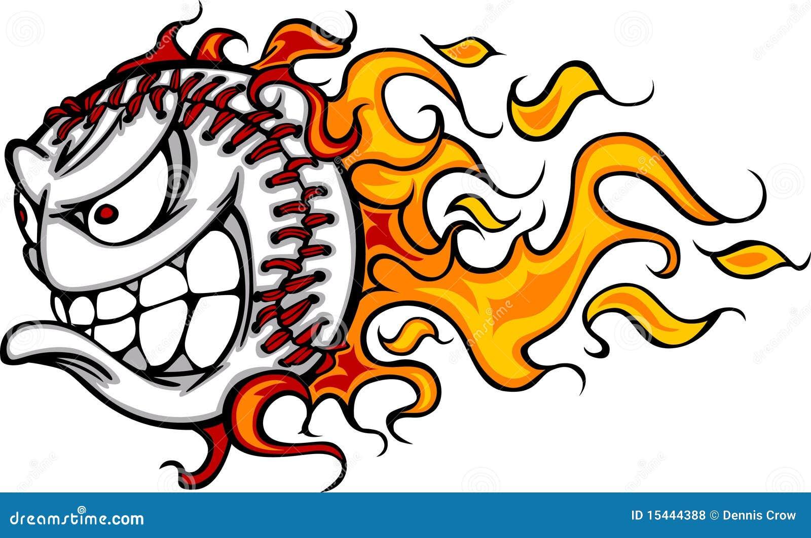 Imagem flamejante do vetor da face da esfera do basebol