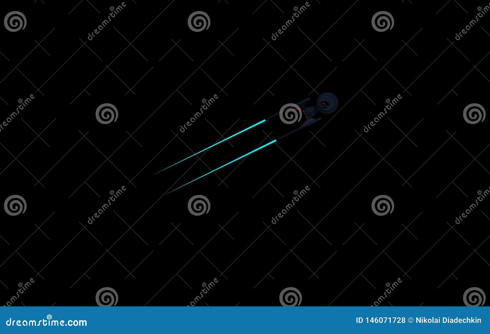 Imagem imaginária da ciência de um starship no espaço profundo e no fundo preto Wallpeprer