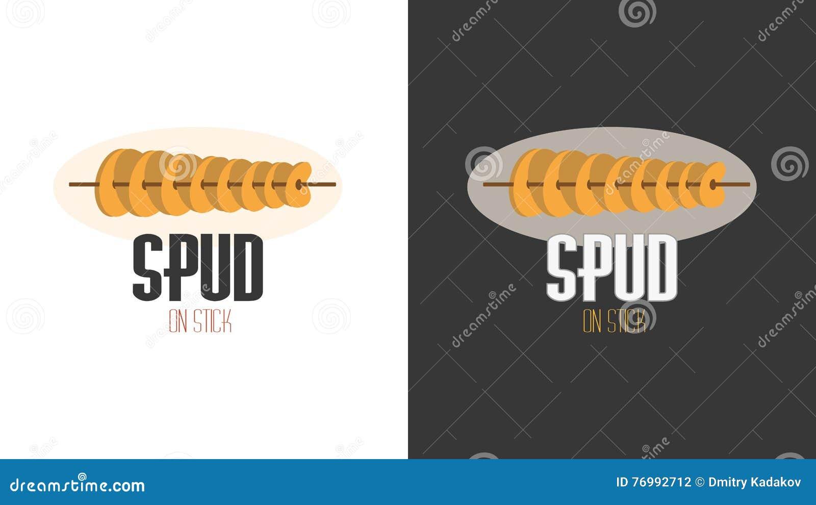 Imagem lisa do logotipo dos desenhos animados para microplaquetas fritadas em uma vara