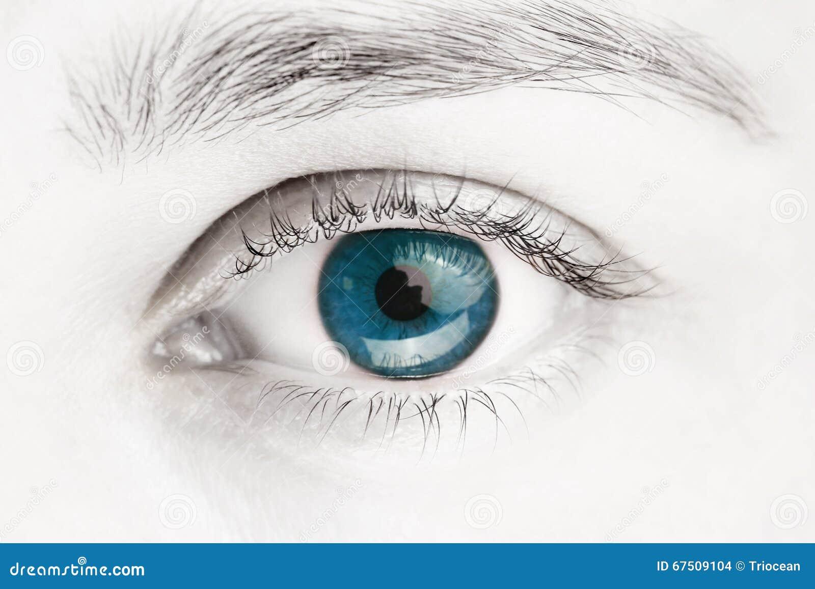 Imagem macro dos olhos azuis