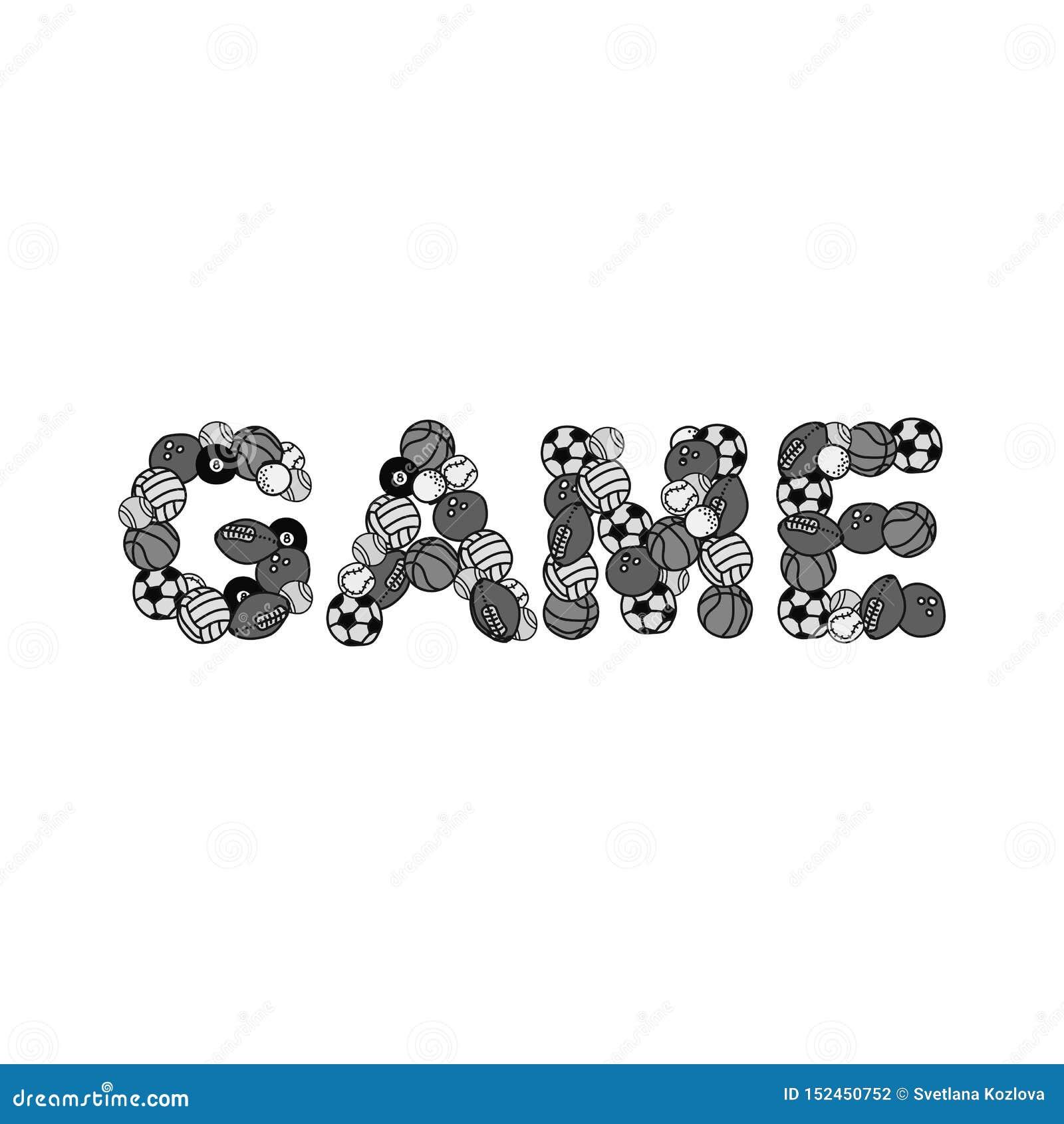 Imagem monocromática de bolas dos esportes: rugby do futebol de Polo Golf American da água do basquetebol do futebol Apresentado