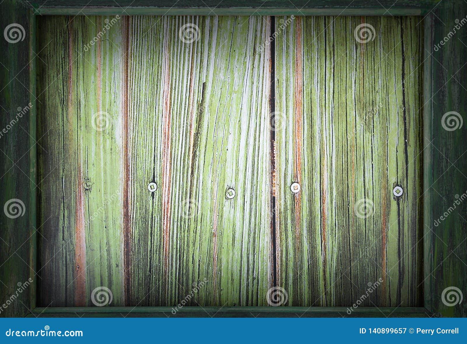 Imagem para o dia de St Patrick o 17 de março Um quadro de madeira verde cerca um fundo de madeira verde Vinheta adicionada