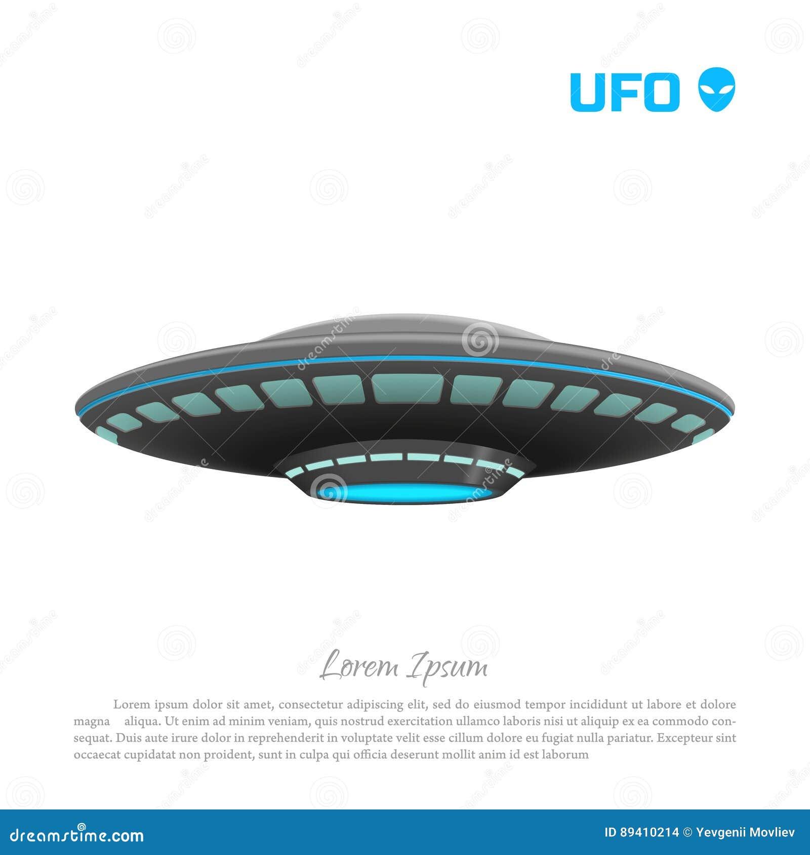 Imagem realística de um UFO em um fundo branco Desenho detalhado de um ofício futurista