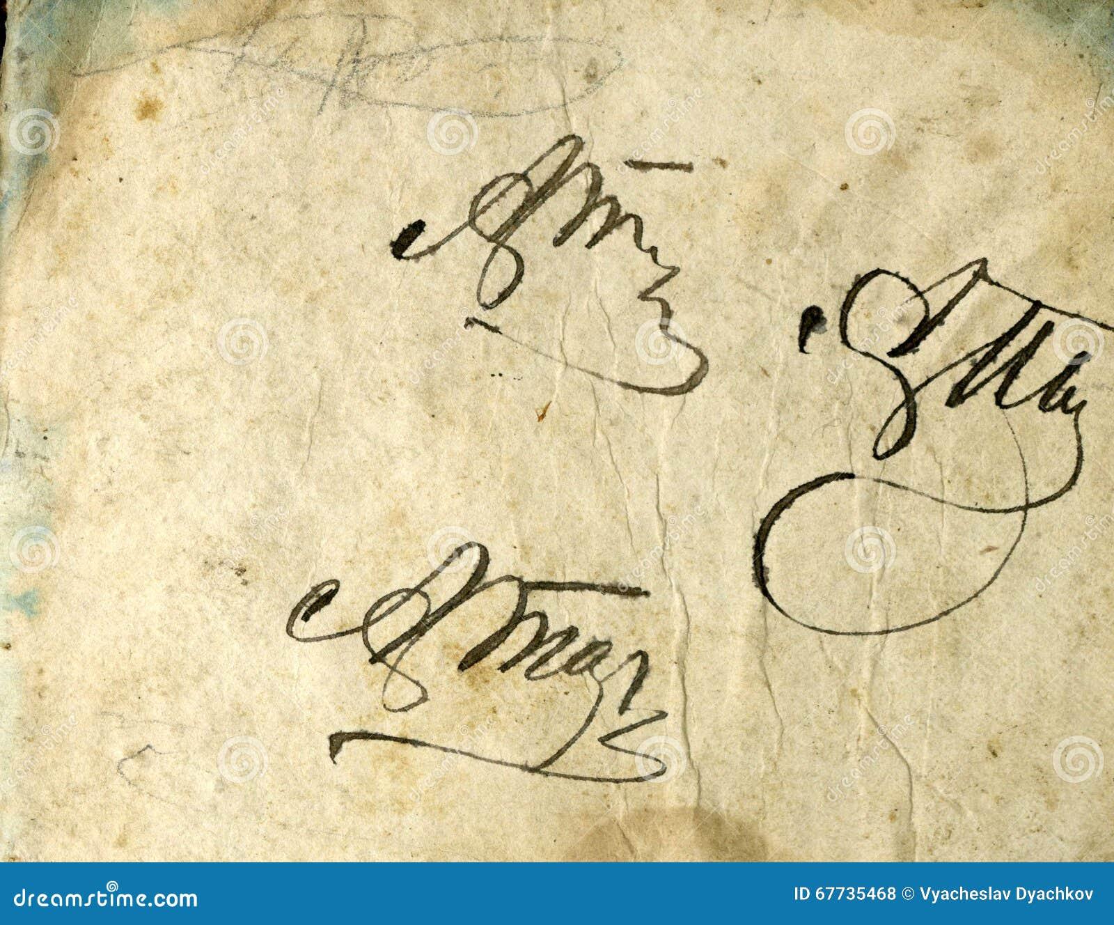 Imagem sem emenda da folha de papel amarelada velha com pontos escuros e um fac-símile da inscrição