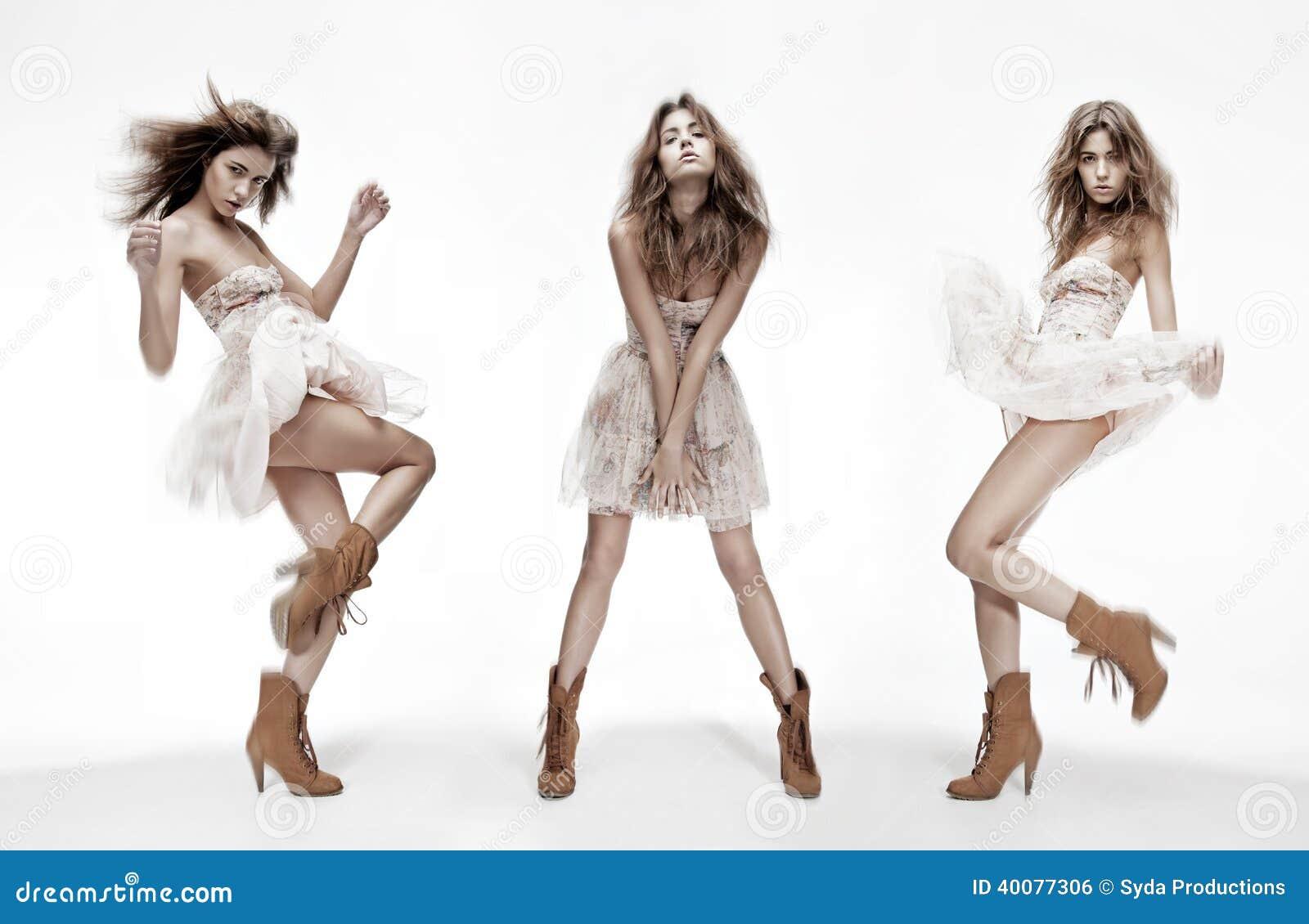 Imagem tripla do modelo de forma em poses diferentes