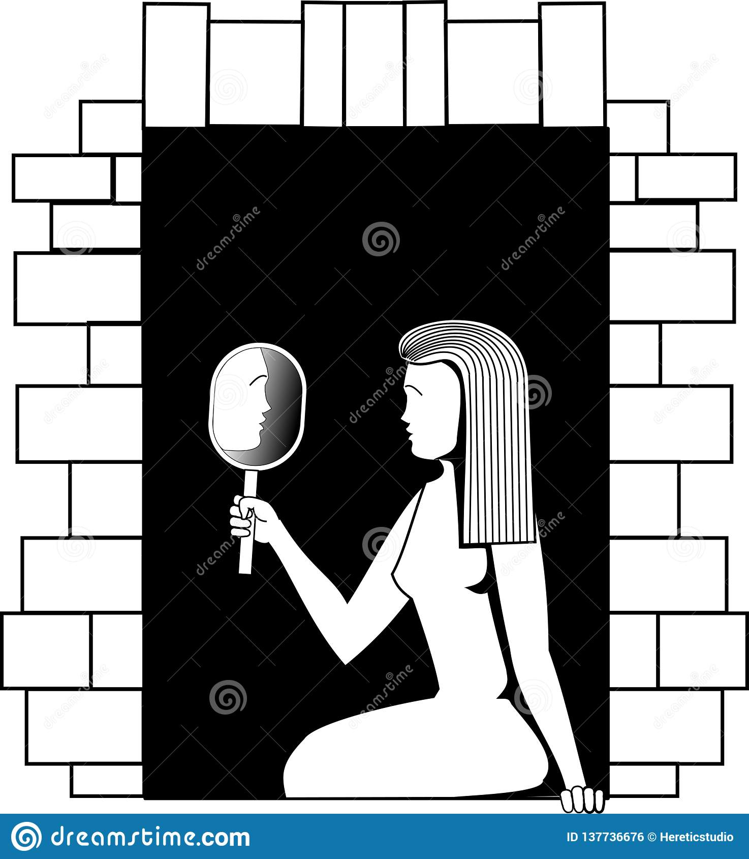 Imagen blanco y negro del vector una muchacha que se sienta en una ventana y que mira en un espejo