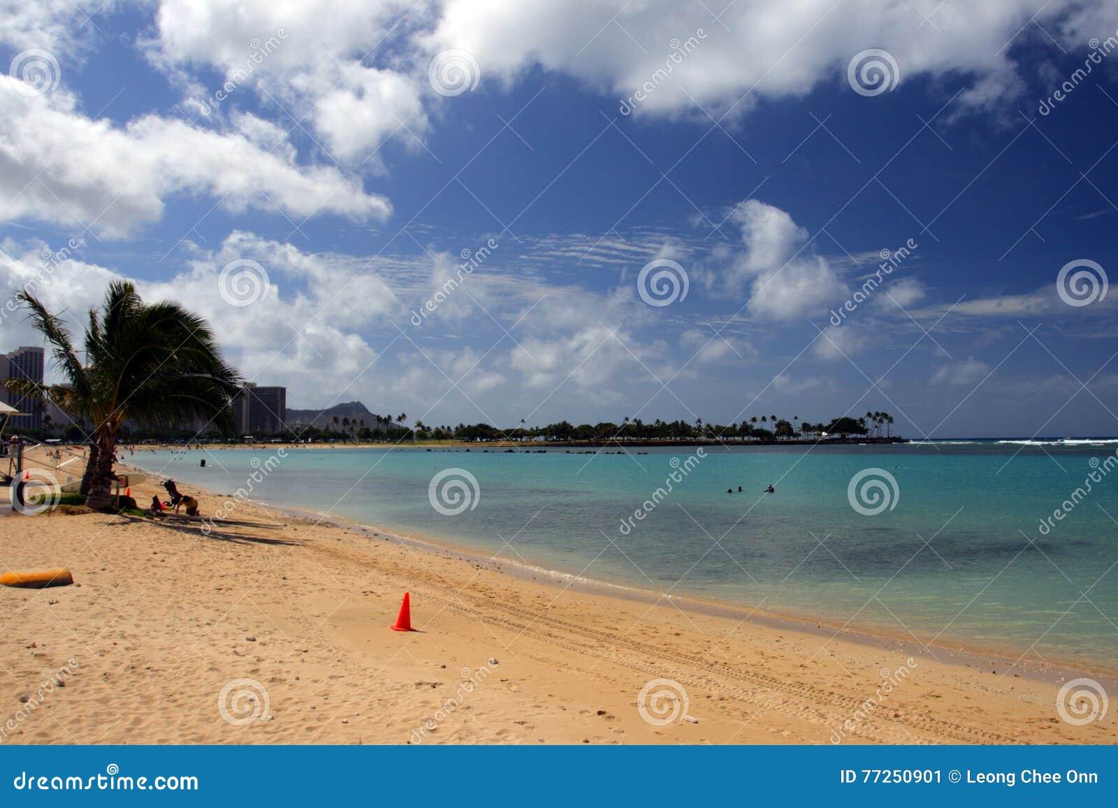 Imagen común de la playa de Waikiki, Honolulu, Oahu, Hawaii