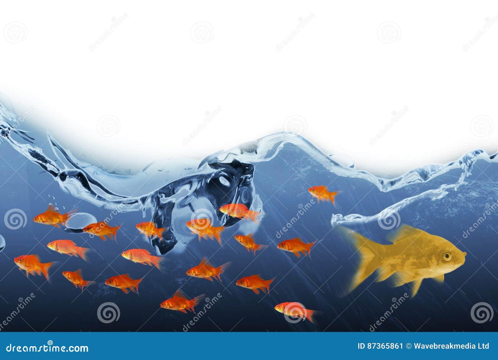 Imagen compuesta 3D de la vista lateral de la natación de los pescados