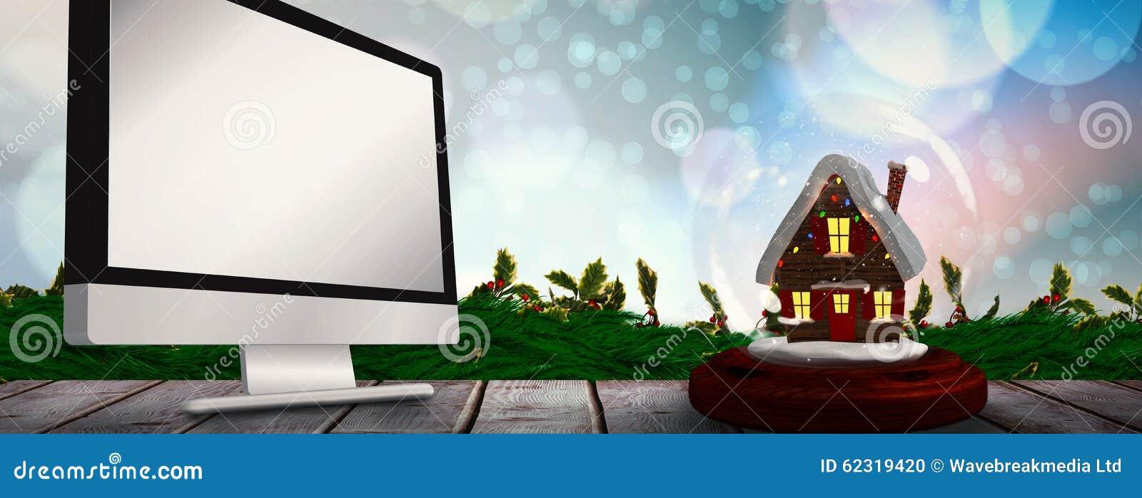 Imagen compuesta de la caba a de la navidad en globo de la - Cabanas de madera en la nieve ...