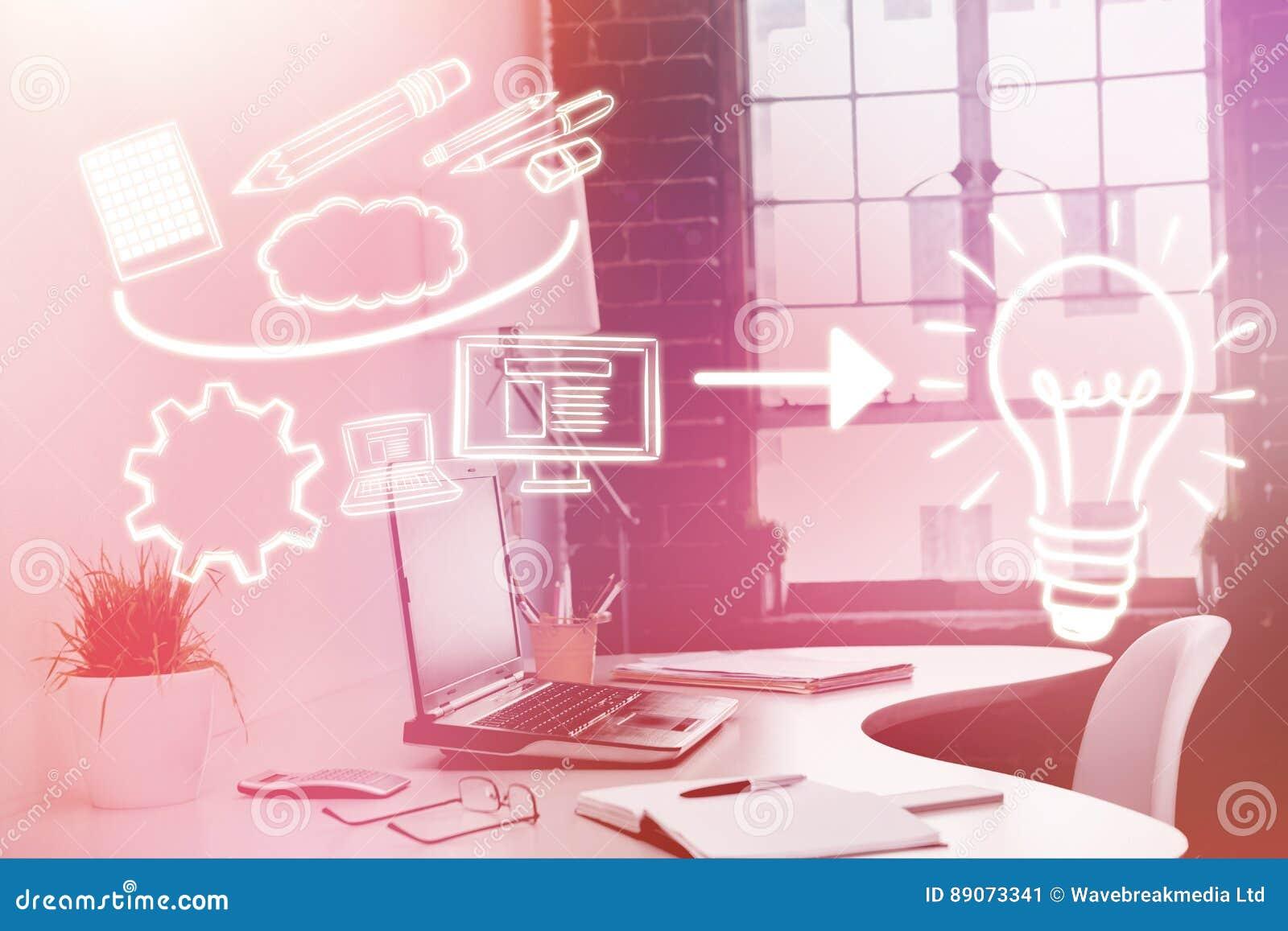 Imagen compuesta de la imagen compuesta de los iconos del ordenador que señalan hacia la bombilla 3d