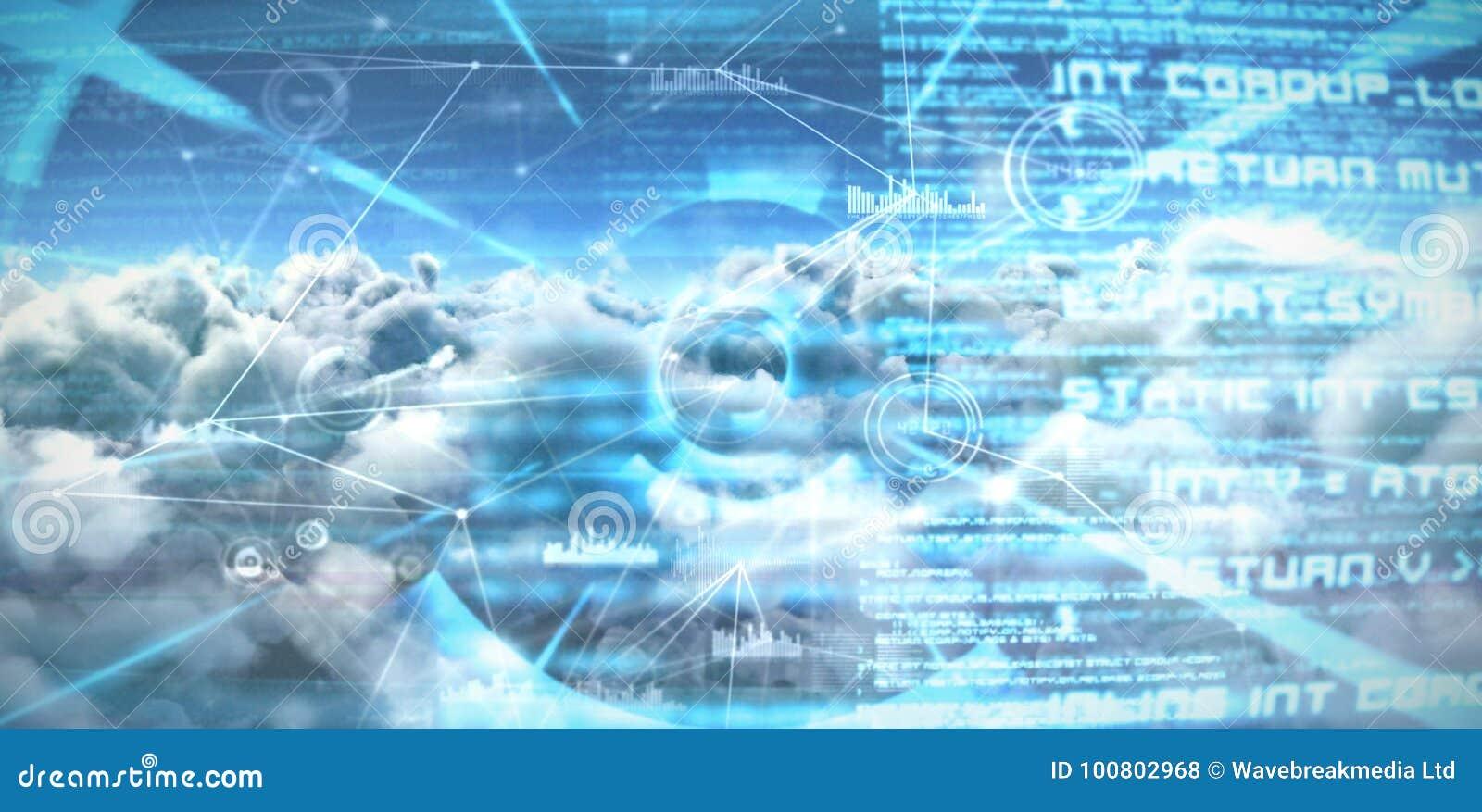 Imagen compuesta de la imagen compuesta de las líneas de conexión del interfaz sobre las nubes