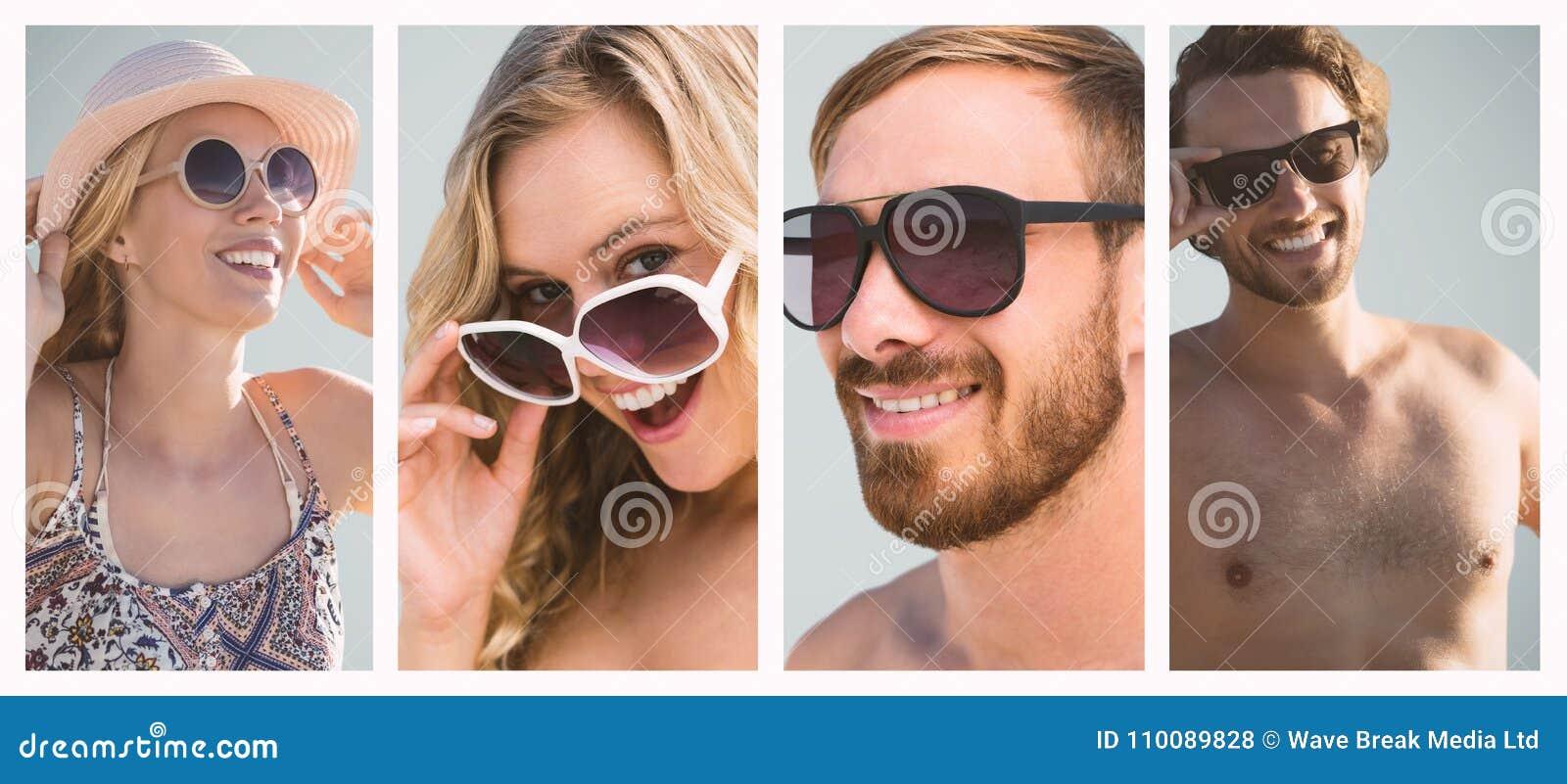 Imagen compuesta de la muchacha hermosa con el sombrero de paja y las gafas de sol