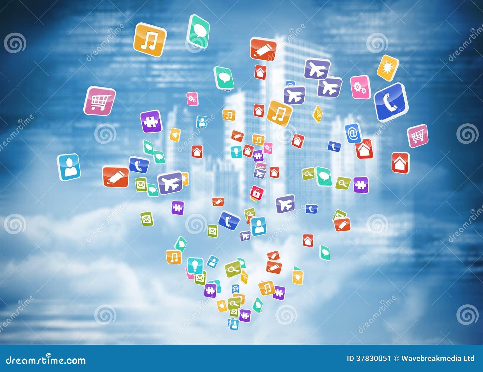 Imagen compuesta de las aplicaciones informáticas coloridas