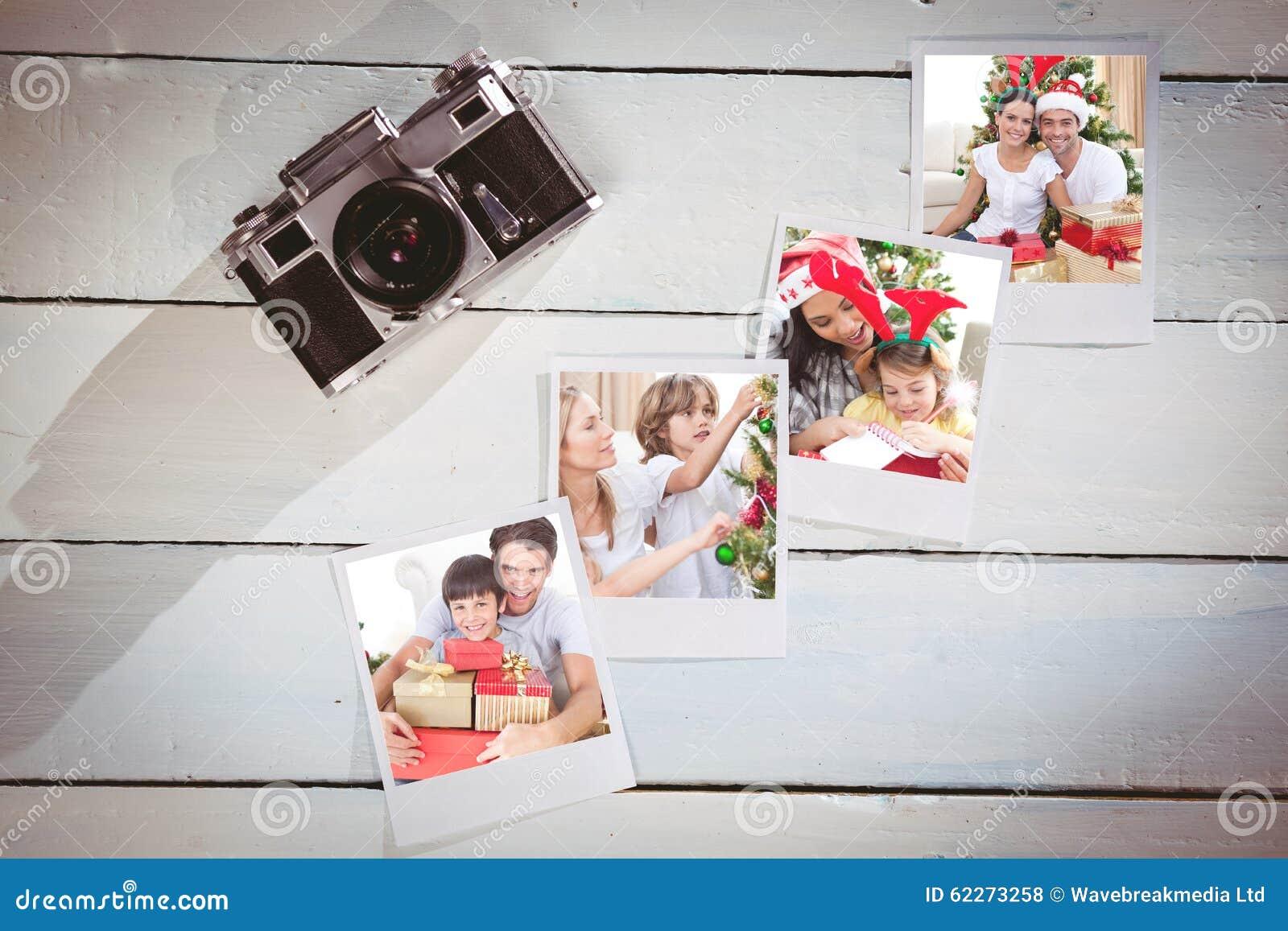 Imagen compuesta de los pares felices que celebran la Navidad en casa