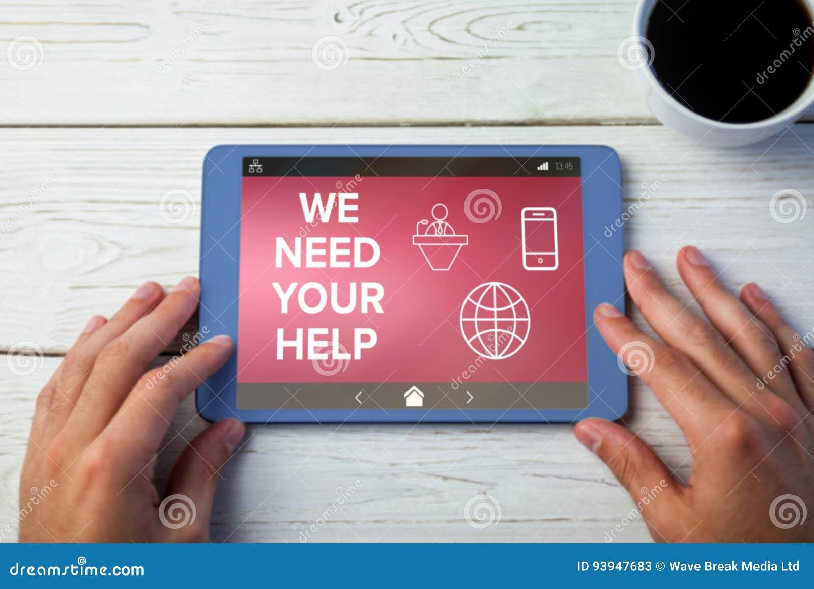 Imagen compuesta de nosotros necesitamos su texto de ayuda con los diversos iconos en la pantalla
