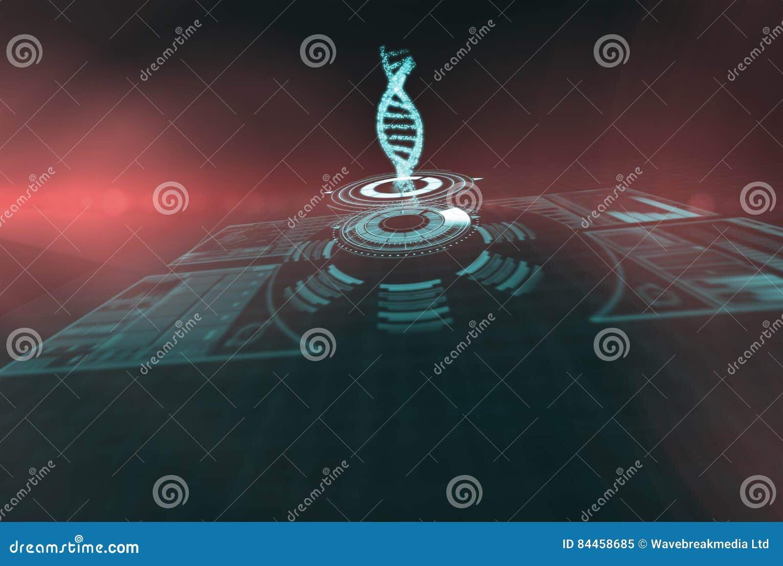 Imagen compuesta del botón iluminado del volumen con el filamento 3d de la DNA