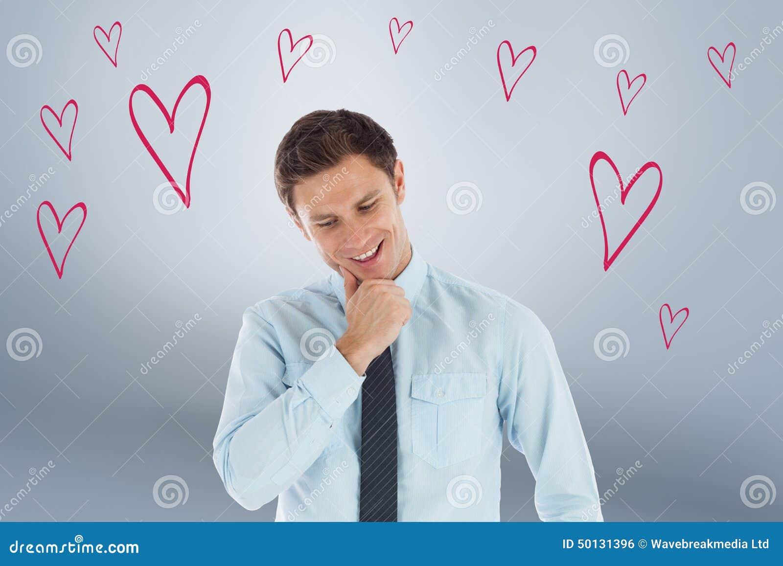 Imagen compuesta del hombre de negocios pensativo con la mano en la barbilla