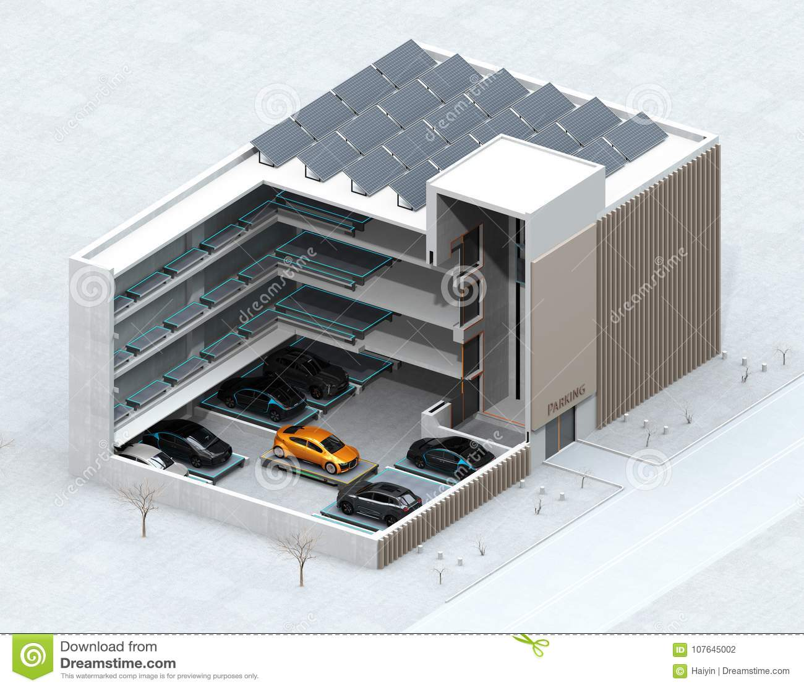 Imagen cortada del concepto para el sistema automático del estacionamiento del coche del AGV