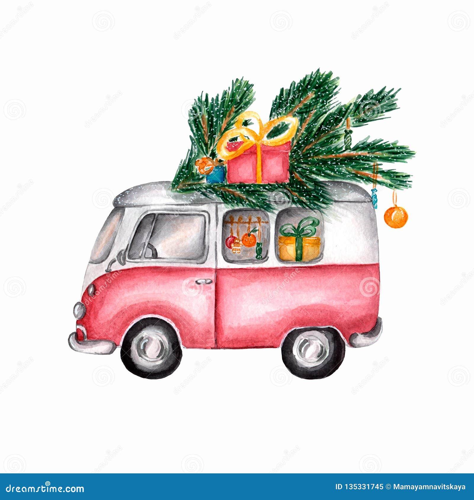 Imagen de la acuarela del autobús del vintage de la Navidad El coche retro rojo está llevando los regalos de la Navidad Ejemplo d