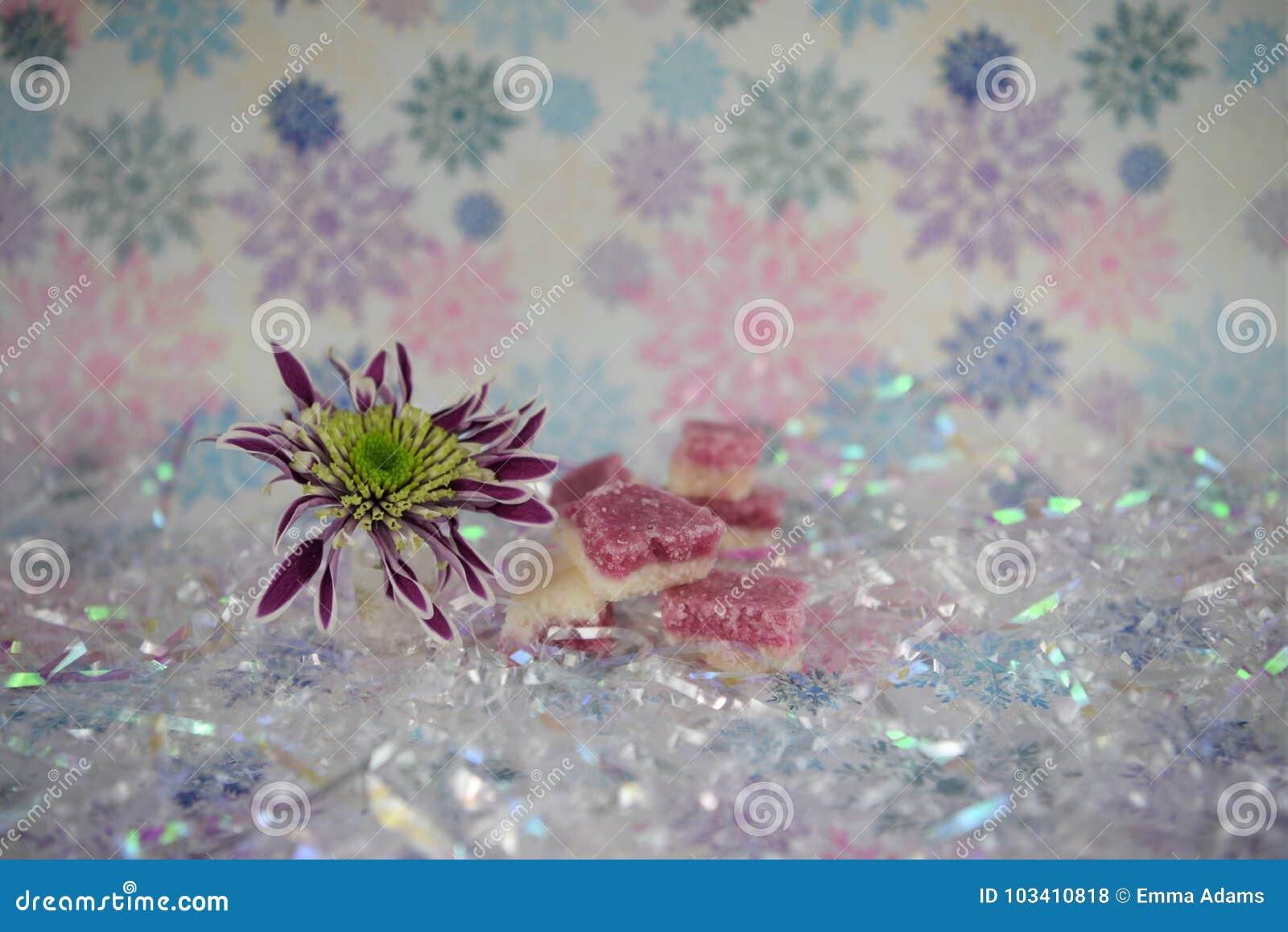 Imagen de la fotografía de la comida de la Navidad con los dulces ingleses pasados de moda del hielo de coco con el fondo de la f