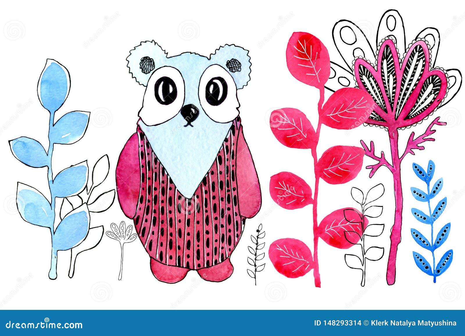 Imagen de la historieta de una panda Frontera Dibujo en acuarela y estilo gráfico para el diseño de impresiones, fondos, tarjetas