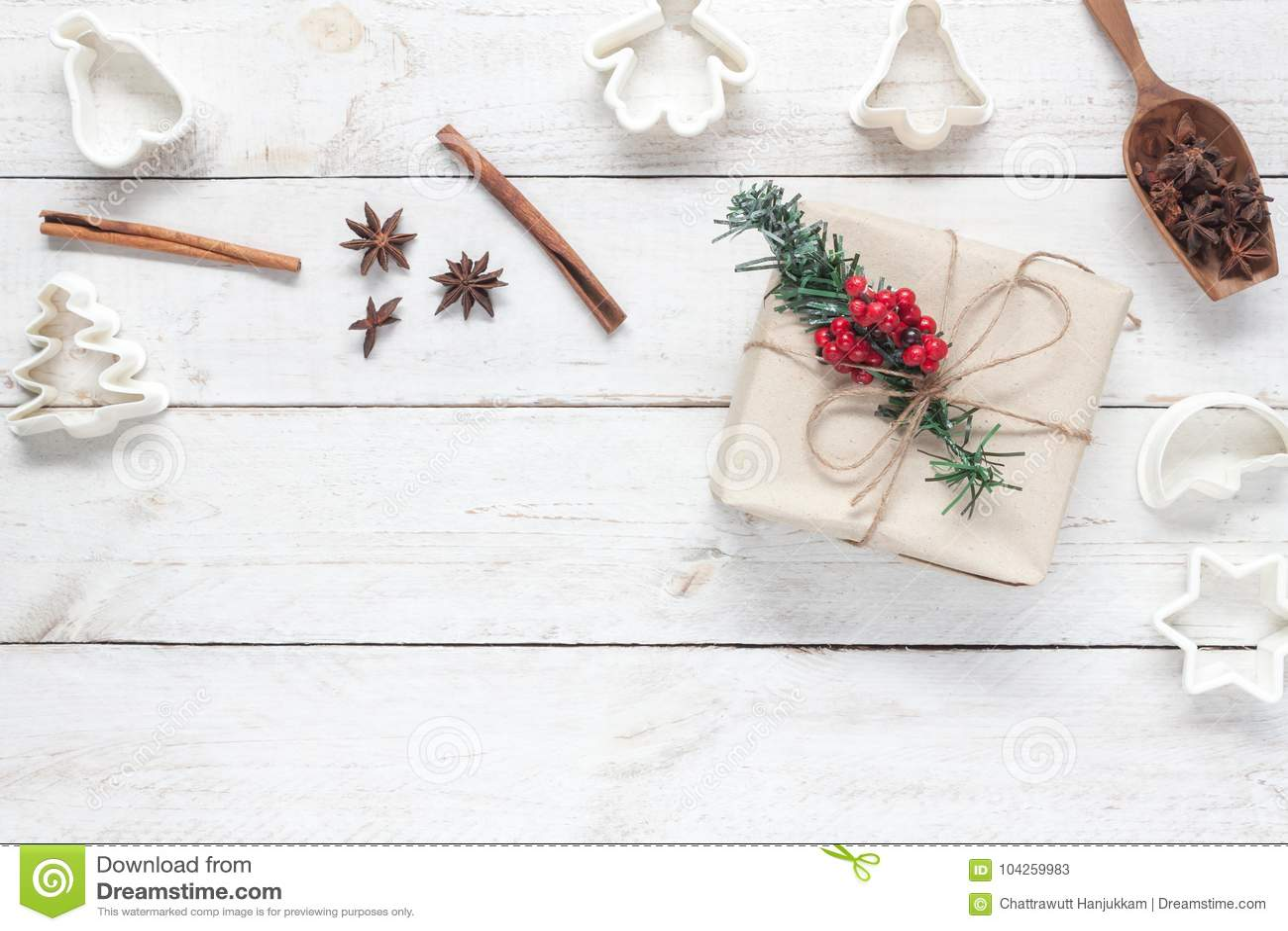 Postres Para Una Feliz Navidad.Imagen De La Vision Superior Concepto Del Fondo De La Feliz