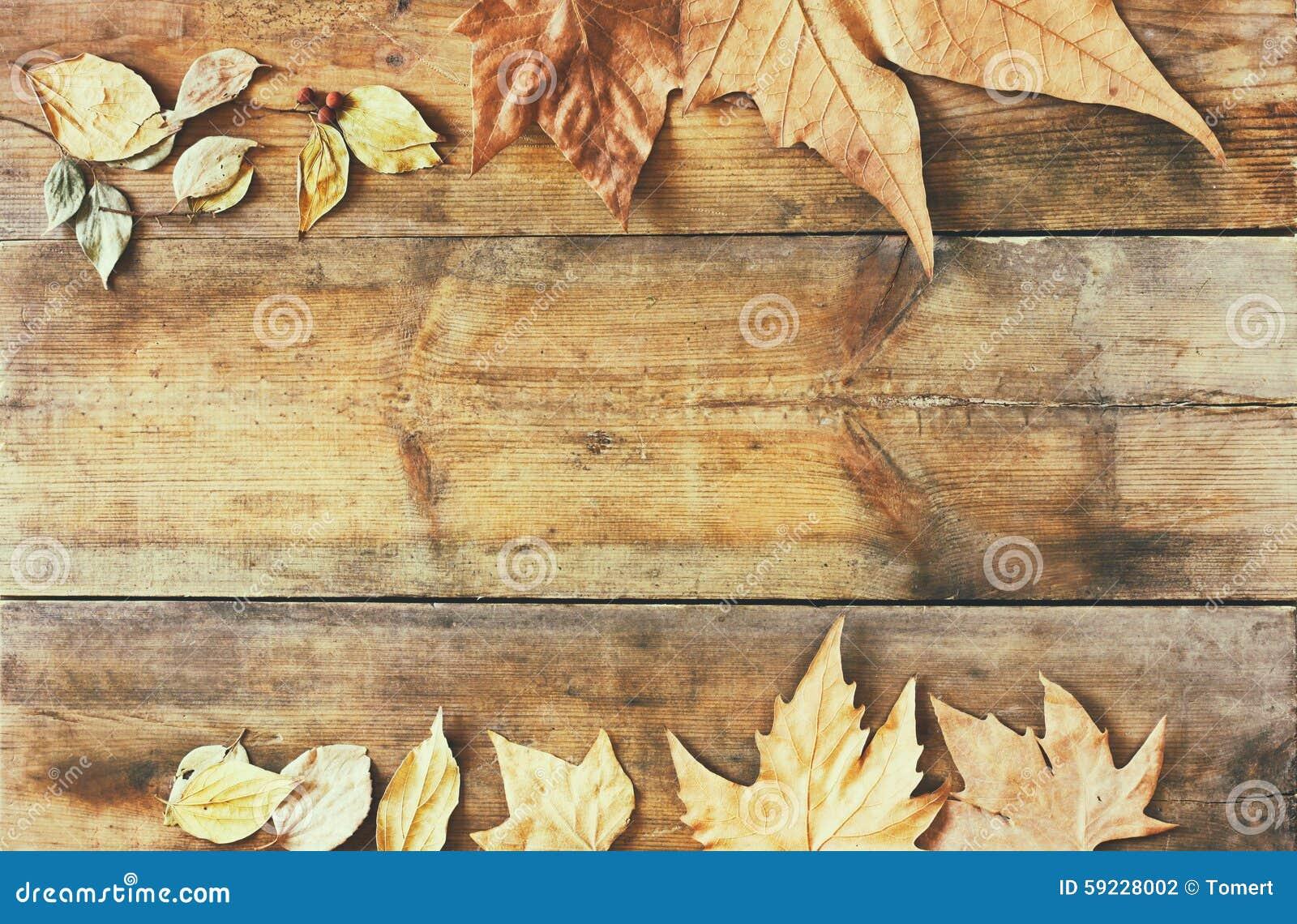 Download Imagen De La Visión Superior De Las Hojas De Otoño Sobre Fondo Texturizado De Madera Foto de archivo - Imagen de contexto, arce: 59228002