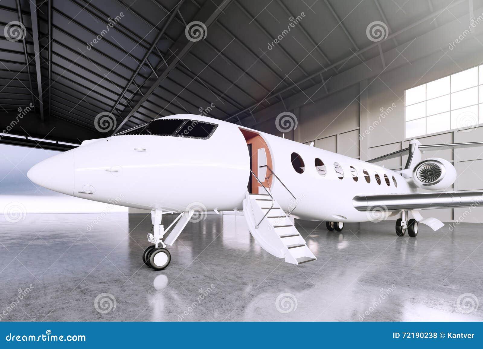 Imagen del estacionamiento blanco del jet de Matte Luxury Generic Design Private en aeropuerto del hangar Piso concreto Recorrido