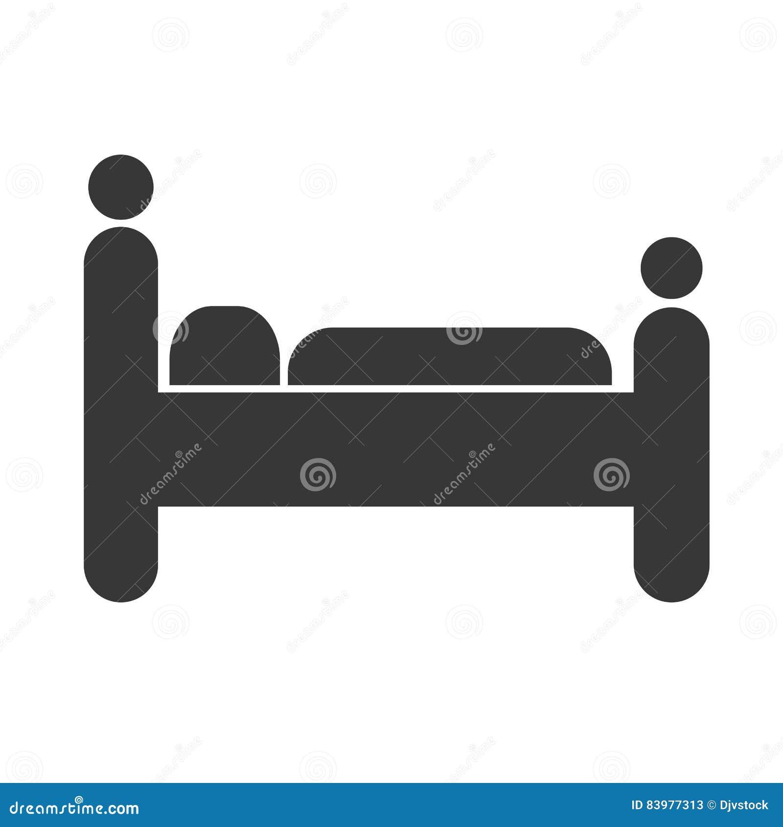 Imagen del icono del hotel o del motel del pictograma el dormir de la persona