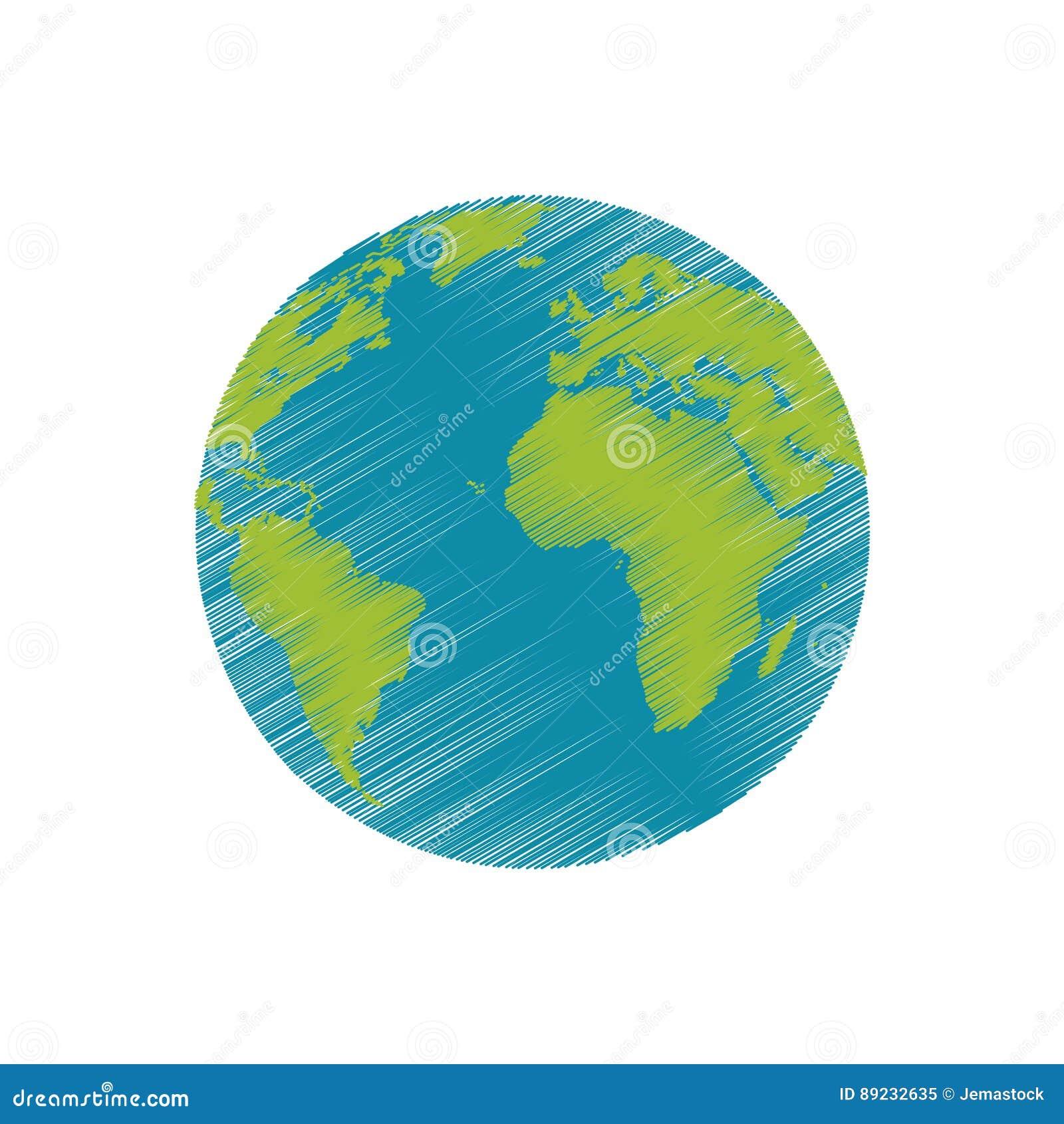 Imagen Del Mundo Del Planeta De La Tierra Del Dibujo Stock De