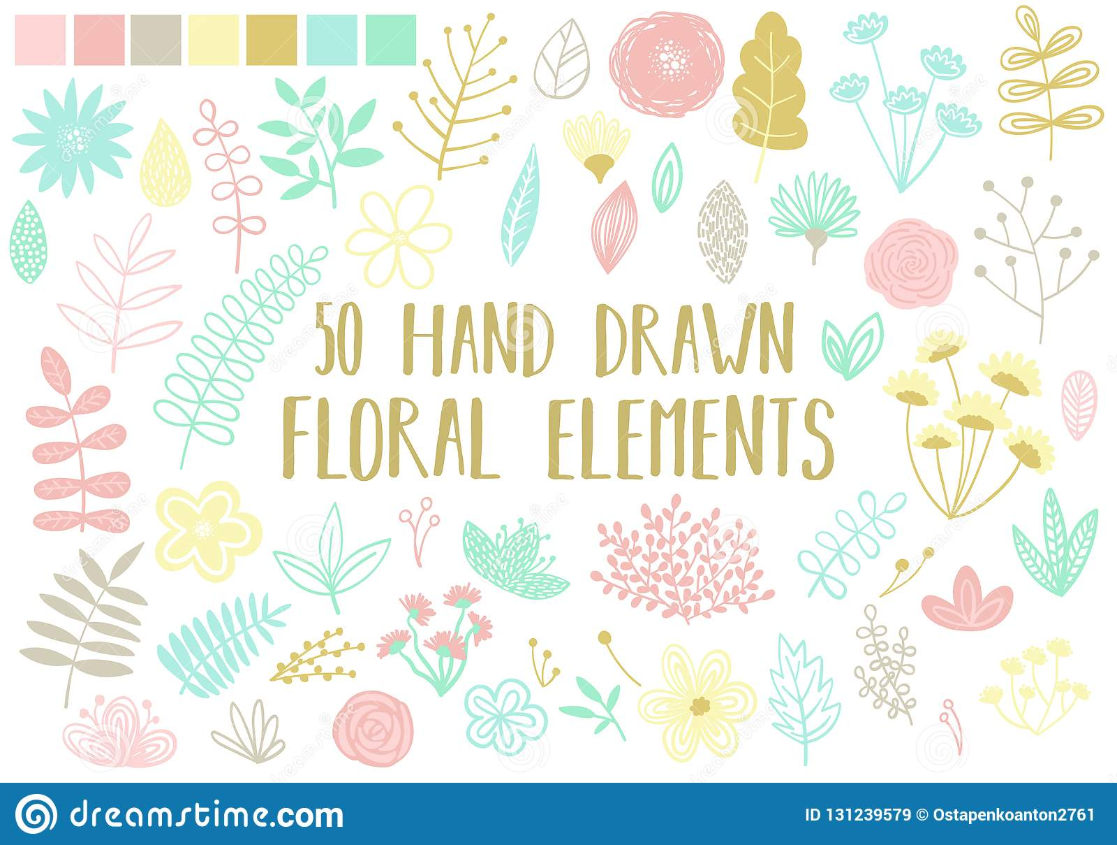 Imagen del vector de elementos florales a mano en un fondo ligero Ejemplo de la historieta de un sistema de flores, de hojas y de