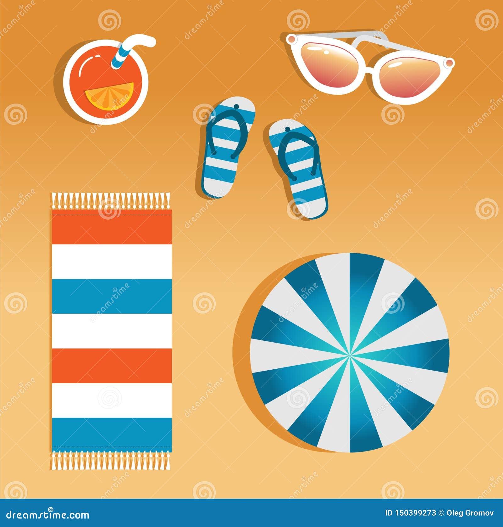 Imagen del vector de los accesorios de la playa