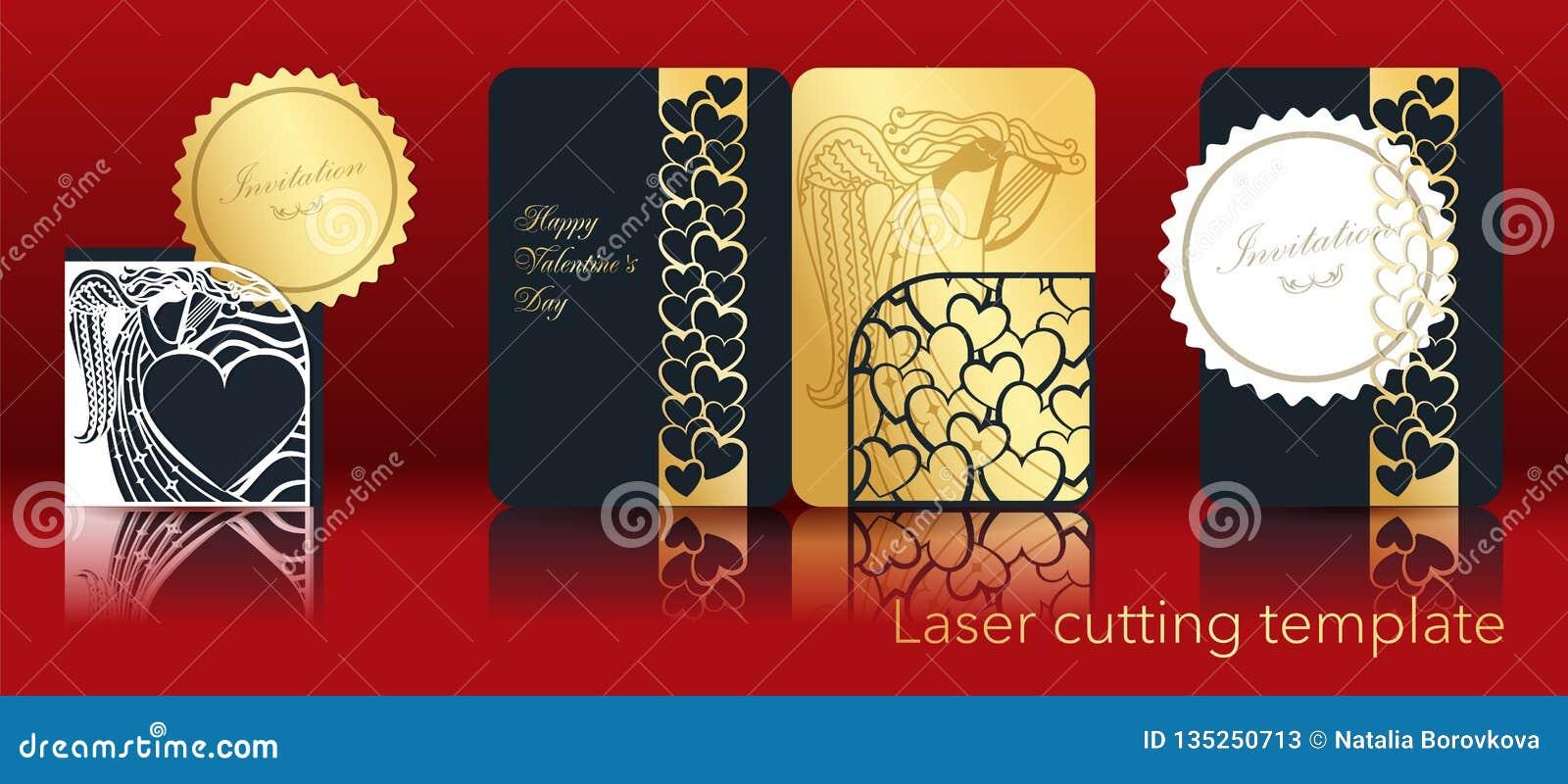 Imagen del vector de un ángel y de un corazón para el corte del laser del papel Un sistema de la tarjeta de felicitación a cielo