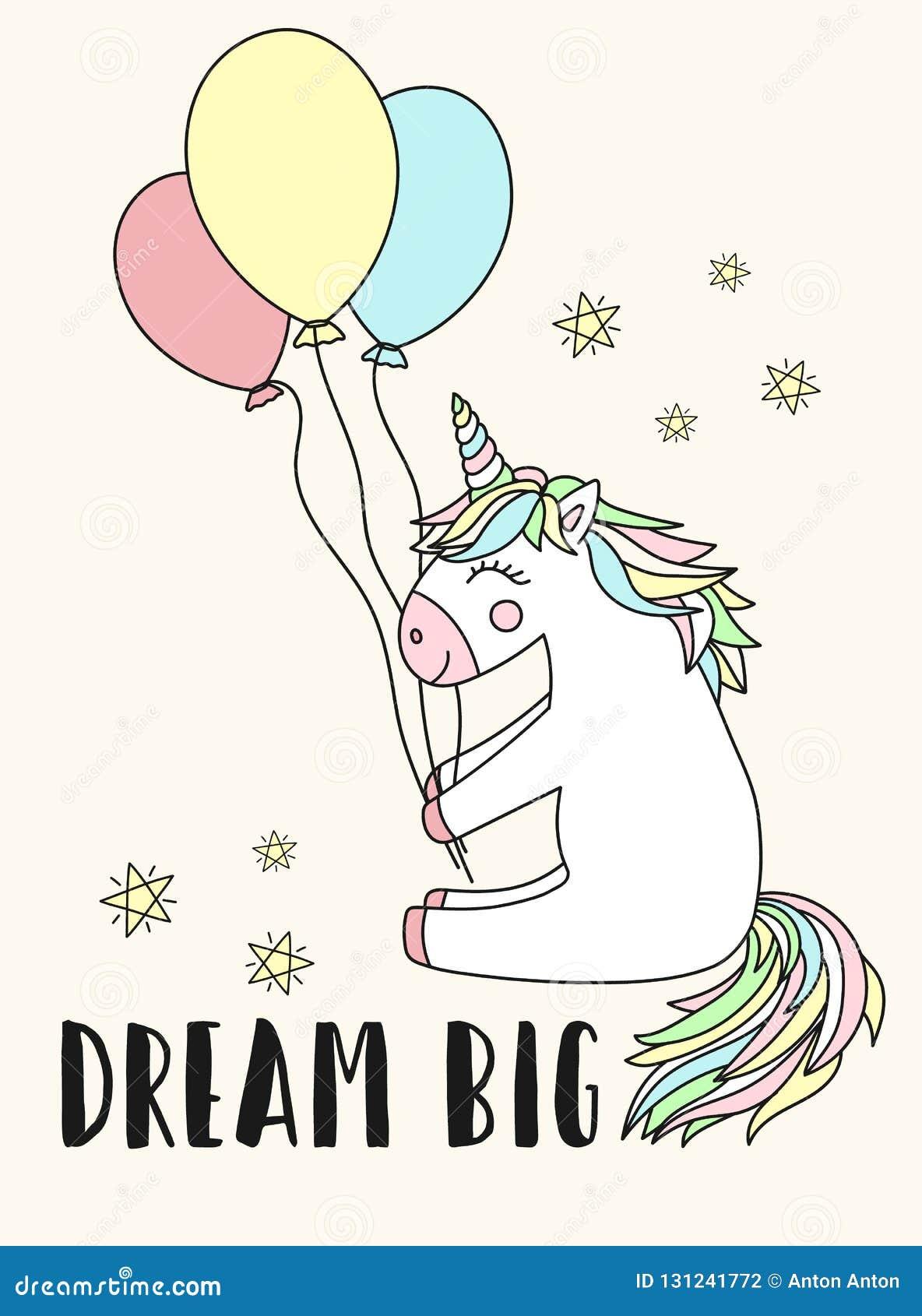 Imagen del vector de un unicornio feliz con los globos y el sueño de la inscripción grande El concepto de día de fiesta, fiesta d