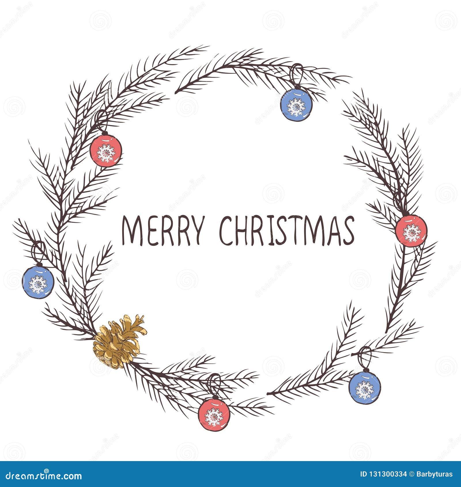 Imagen del vector de una guirnalda de la Navidad, una guirnalda del abeto Inscripción de la Feliz Navidad en el centro Humor de l