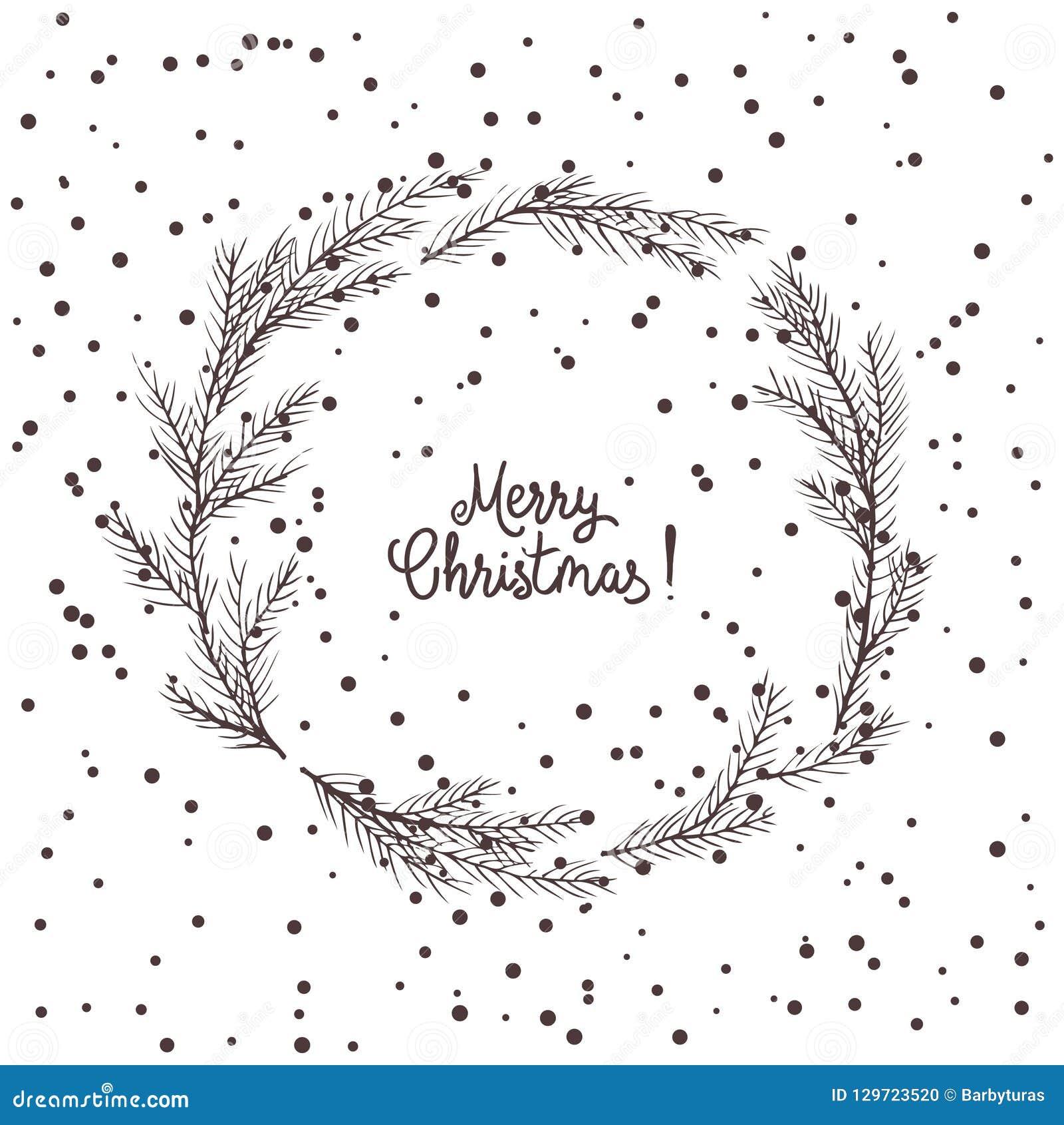 Imagen del vector de una guirnalda de la Navidad, una guirnalda del abeto verde Inscripción de la Feliz Navidad en el centro Humo