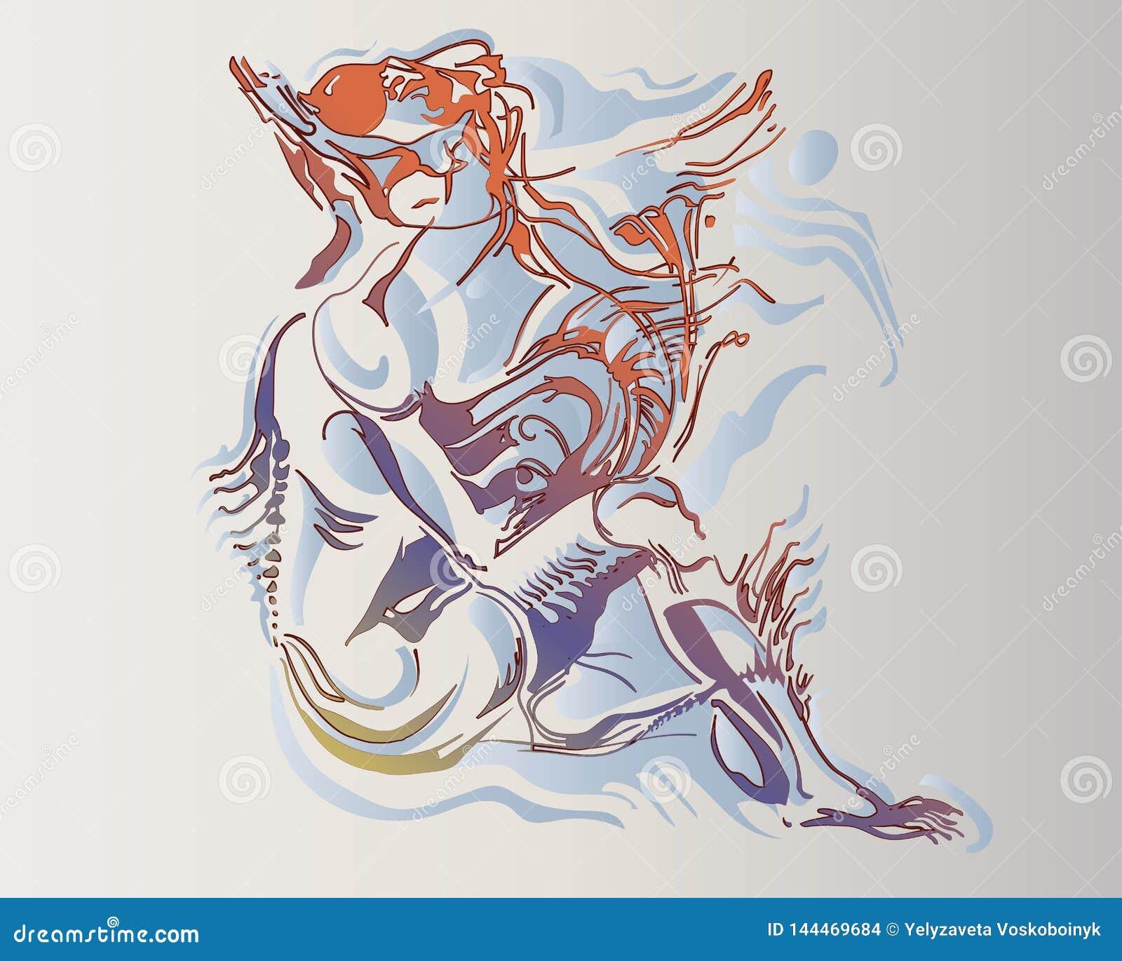 Imagen del vector de una mujer anfibia fantástica