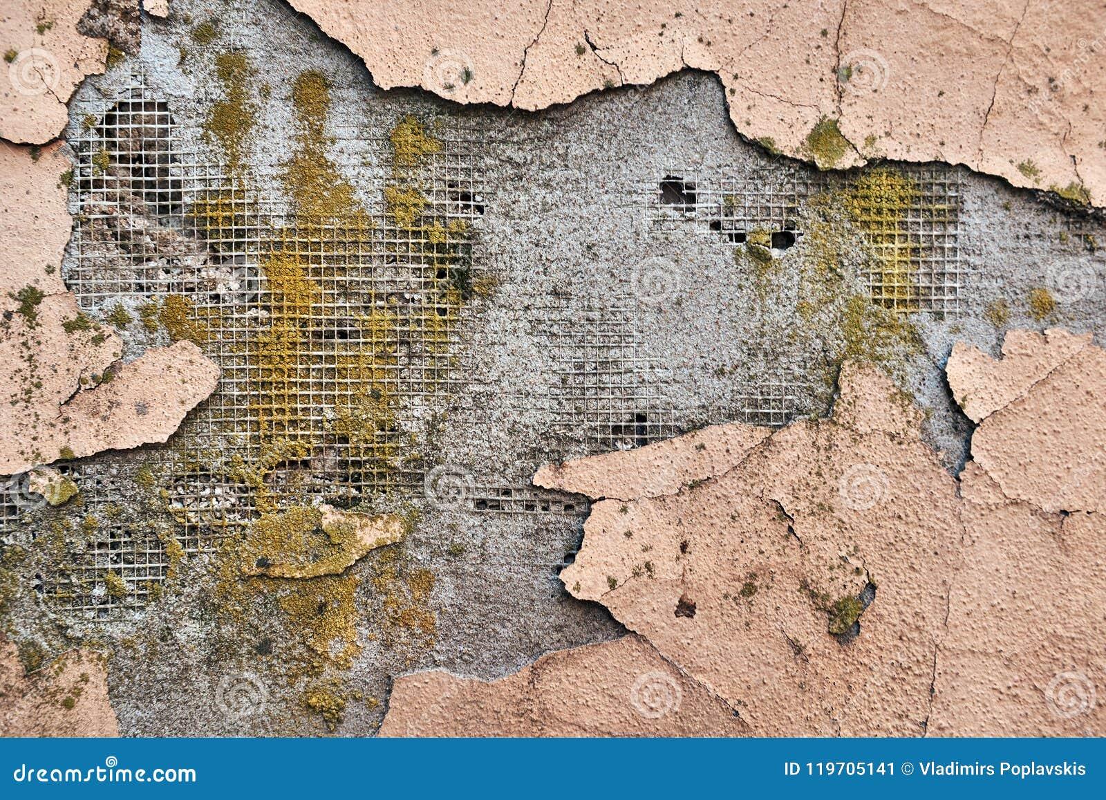 Imagen del yeso destructivo en la pared del edificio