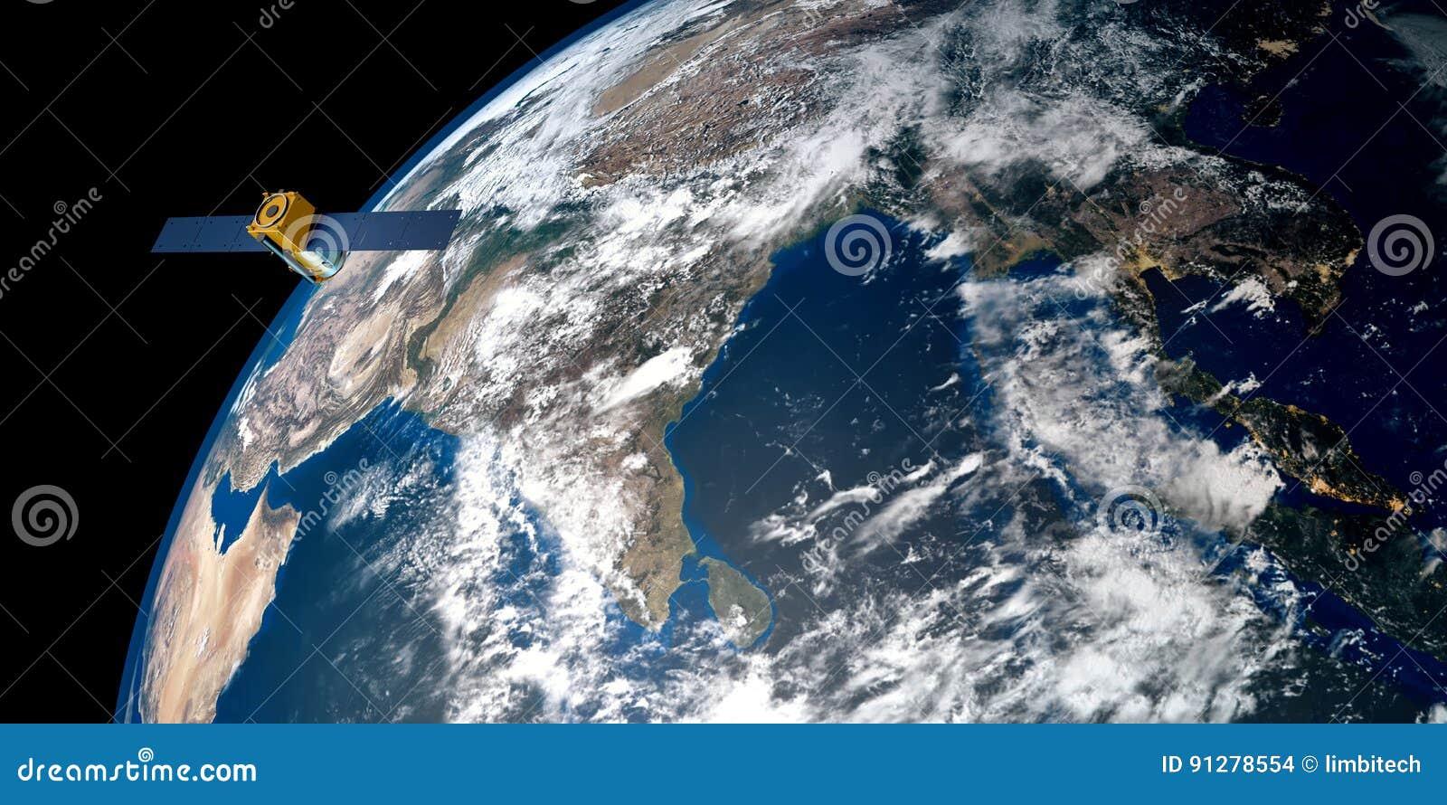 Imagen extremadamente detallada y realista de la alta resolución 3D de una tierra que está en órbita por satélite Tirado de espac