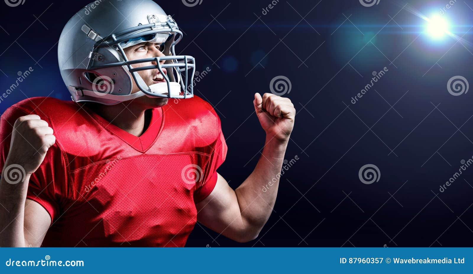 Imagen generada Digital del jugador de fútbol americano que anima con el puño apretado