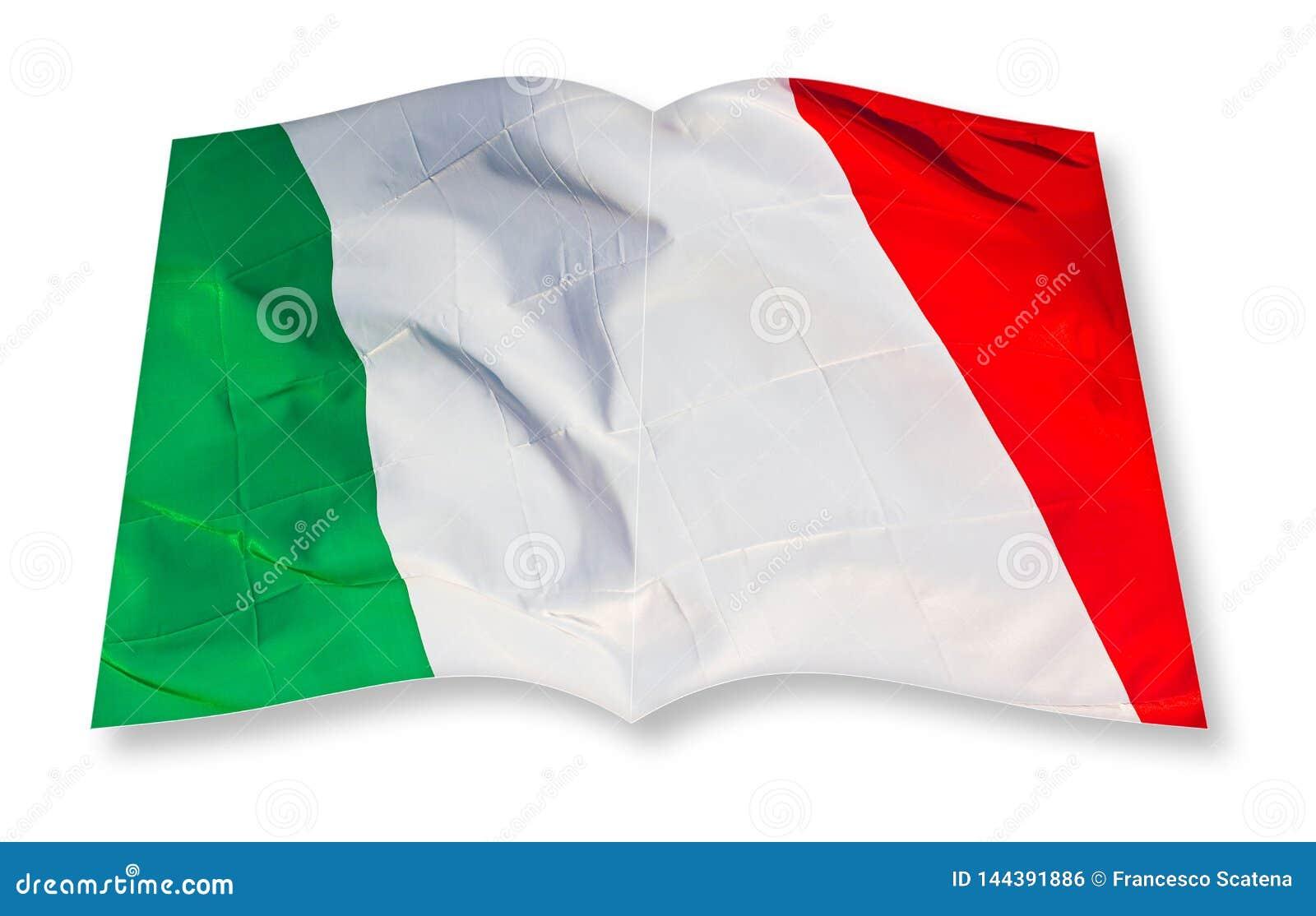 Imagen italiana verde, blanco y rojo del concepto de la bandera - imagen del concepto de la representación 3D de un libro abierto