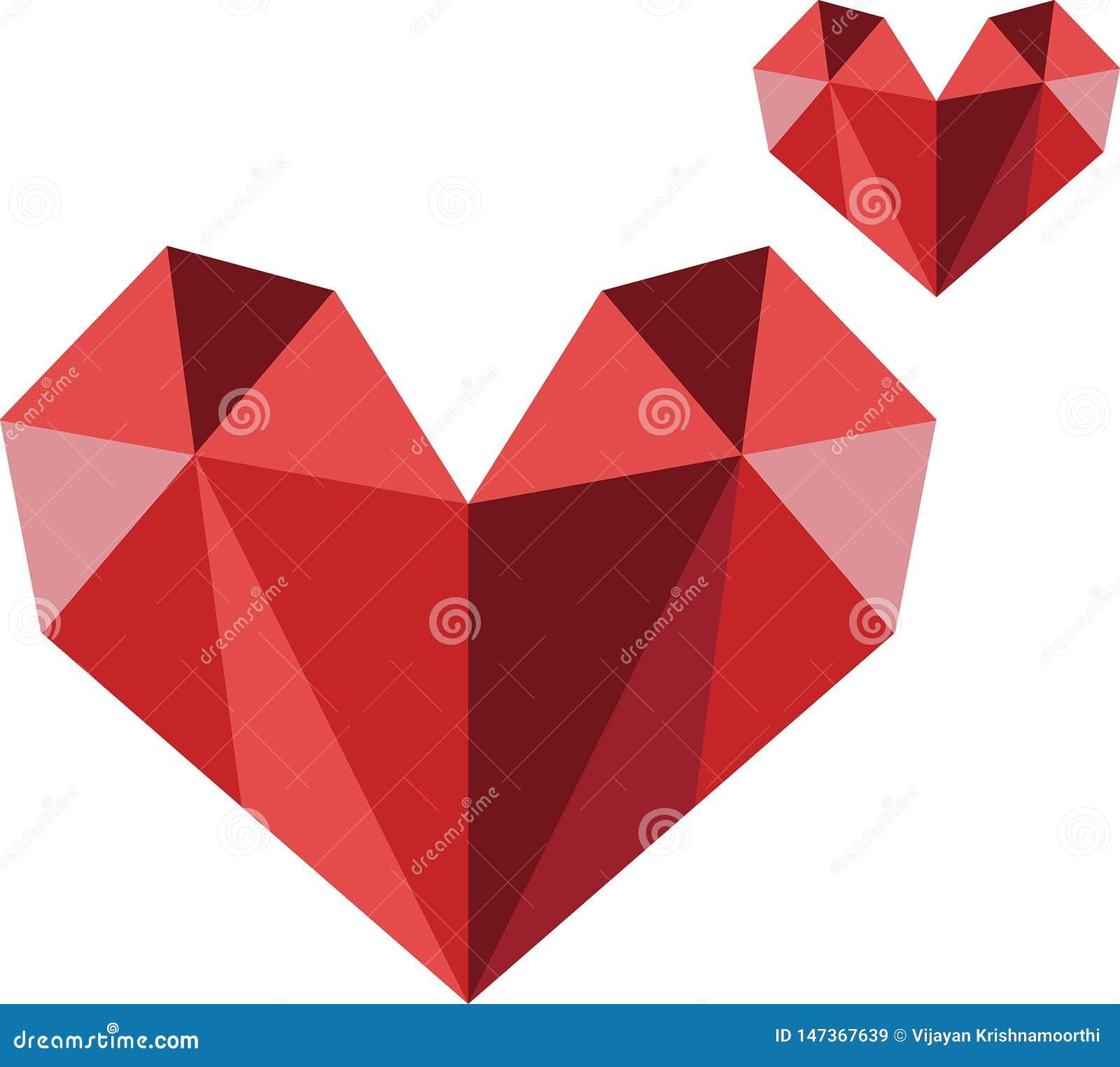 Imagen moderna del vector del logotipo del corazón del polígono