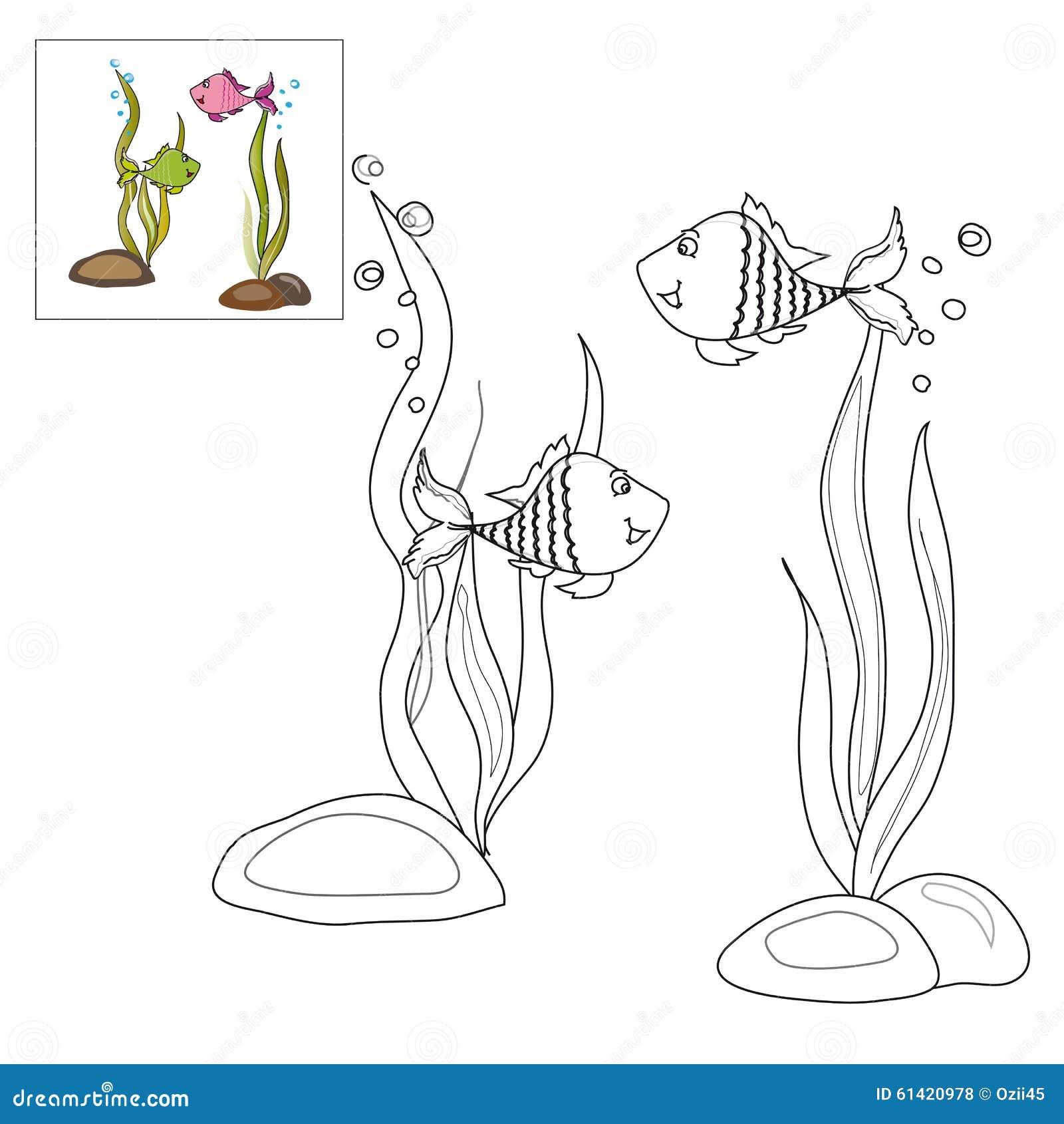Imagen Para Colorear - Dos Pescados Ilustración del Vector ...